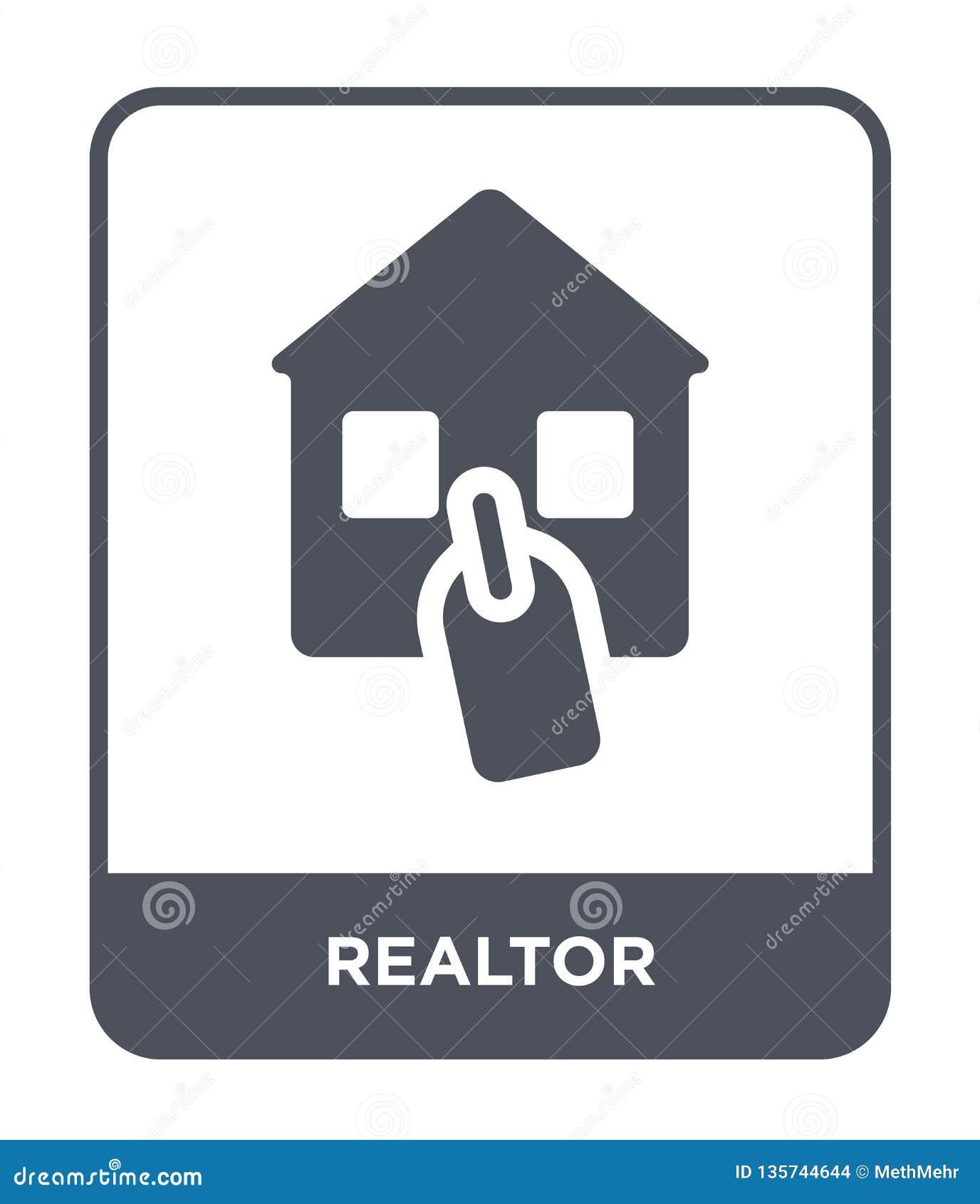 Icono del agente inmobiliario en estilo de moda del diseño icono del agente inmobiliario aislado en el fondo blanco símbolo plano