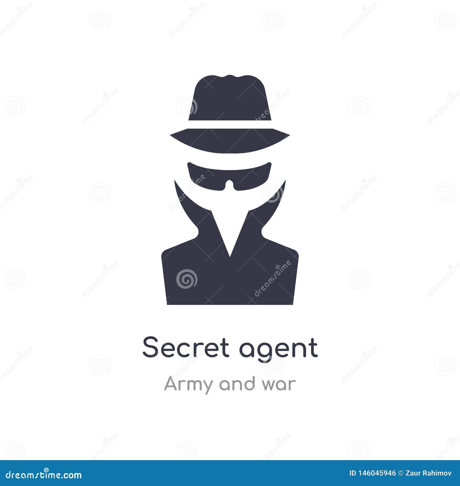 Icono del agente secreto ejemplo aislado del vector del icono del agente secreto de la colección del ejército y de la guerra edit