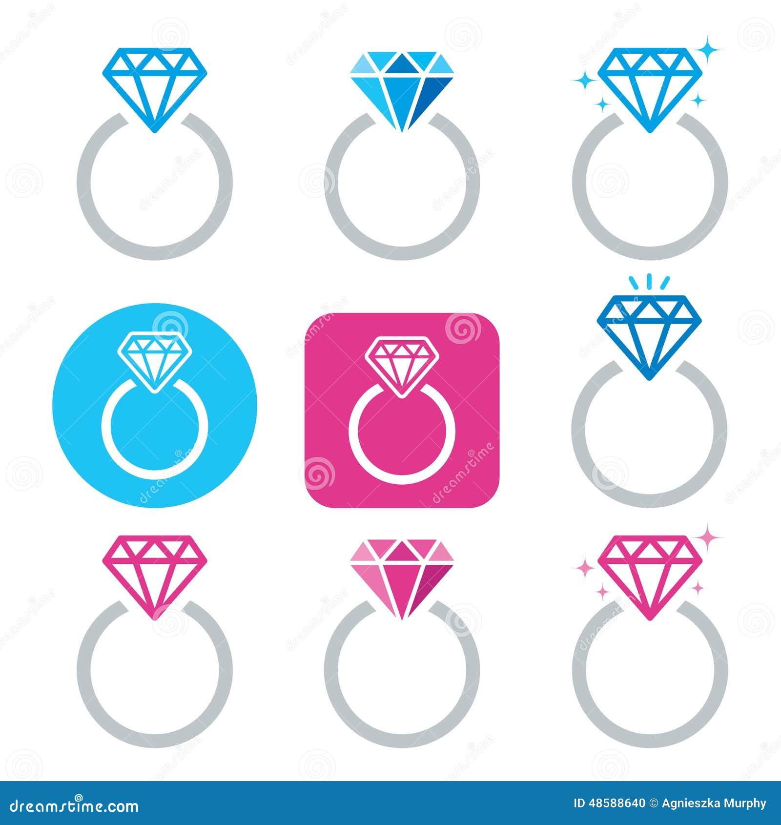 Icono Del Anillo De Compromiso Del Diamante El Día De Tarjeta Del