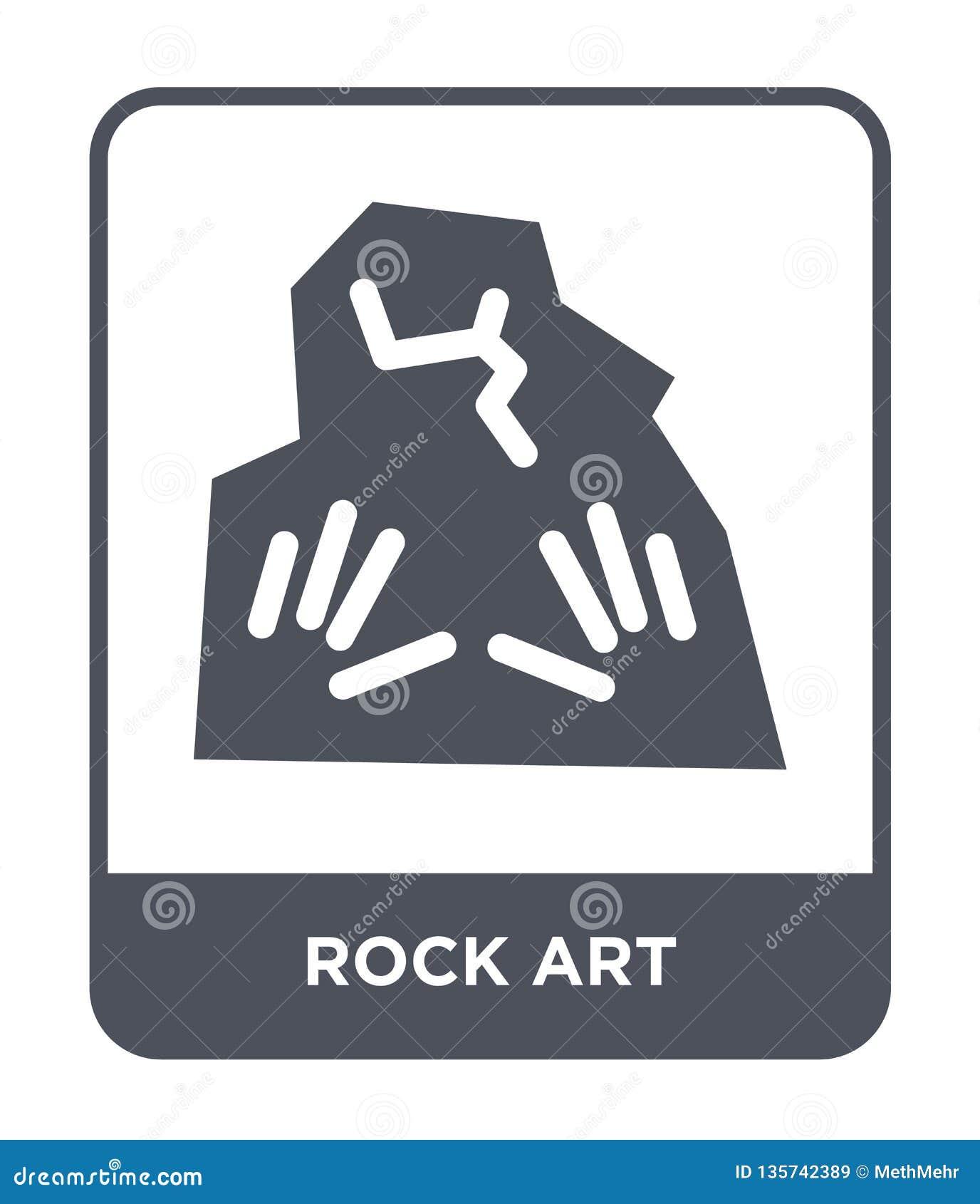 Icono del arte de la roca en estilo de moda del diseño icono del arte de la roca aislado en el fondo blanco plano simple y modern