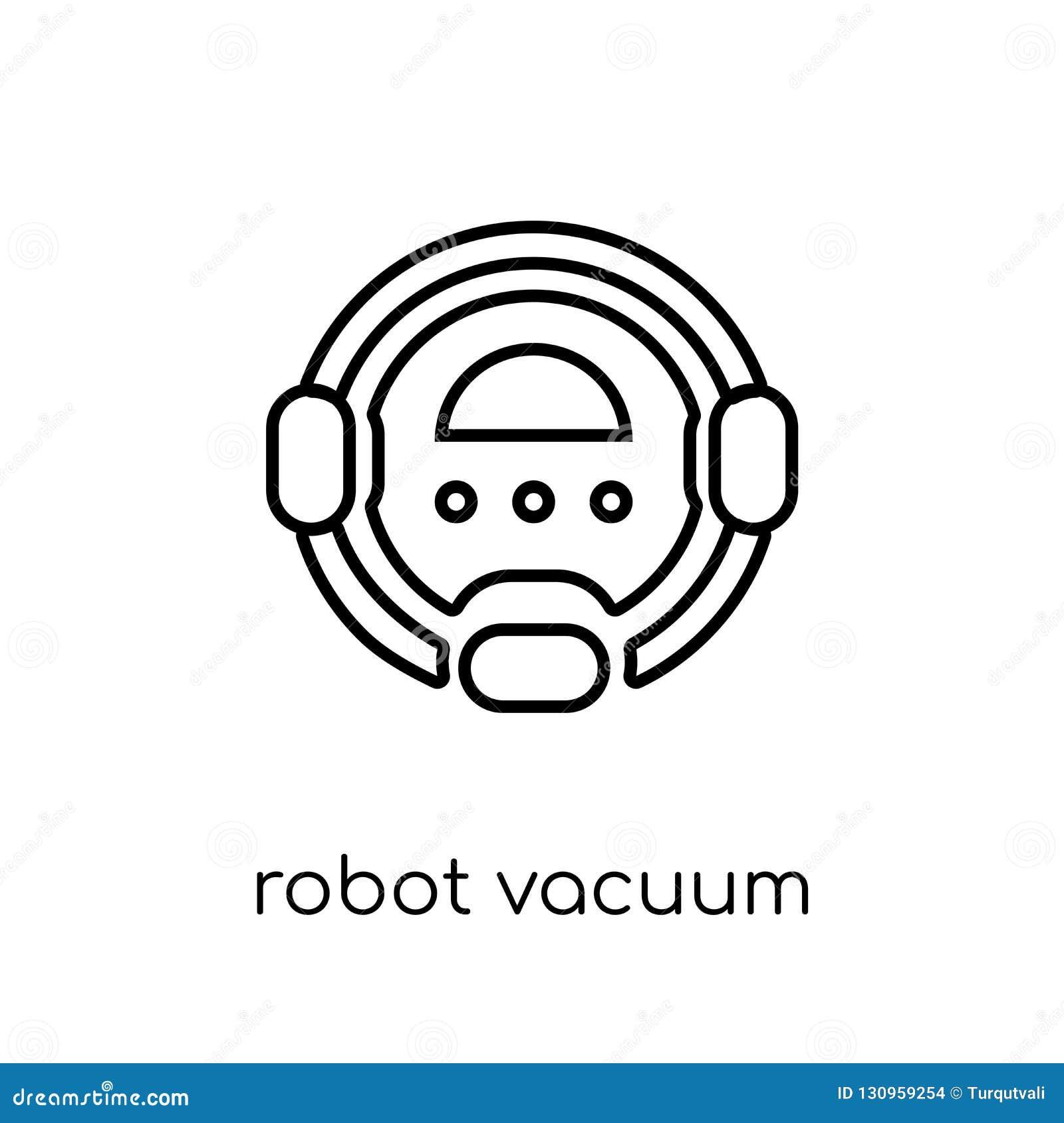 Icono del aspirador del robot Vector linear plano moderno de moda Robo