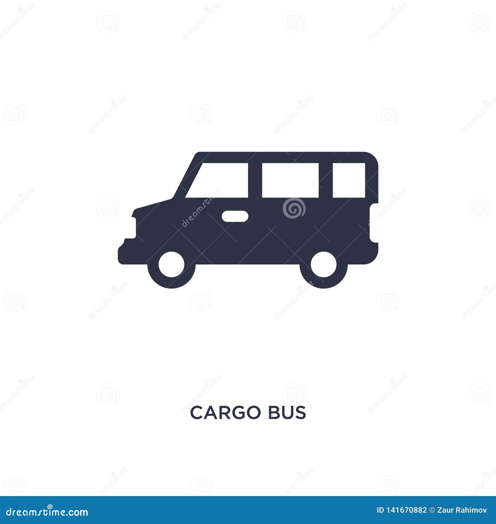 Icono del autobús del cargo en el fondo blanco Ejemplo simple del elemento del concepto de la entrega y de la logística