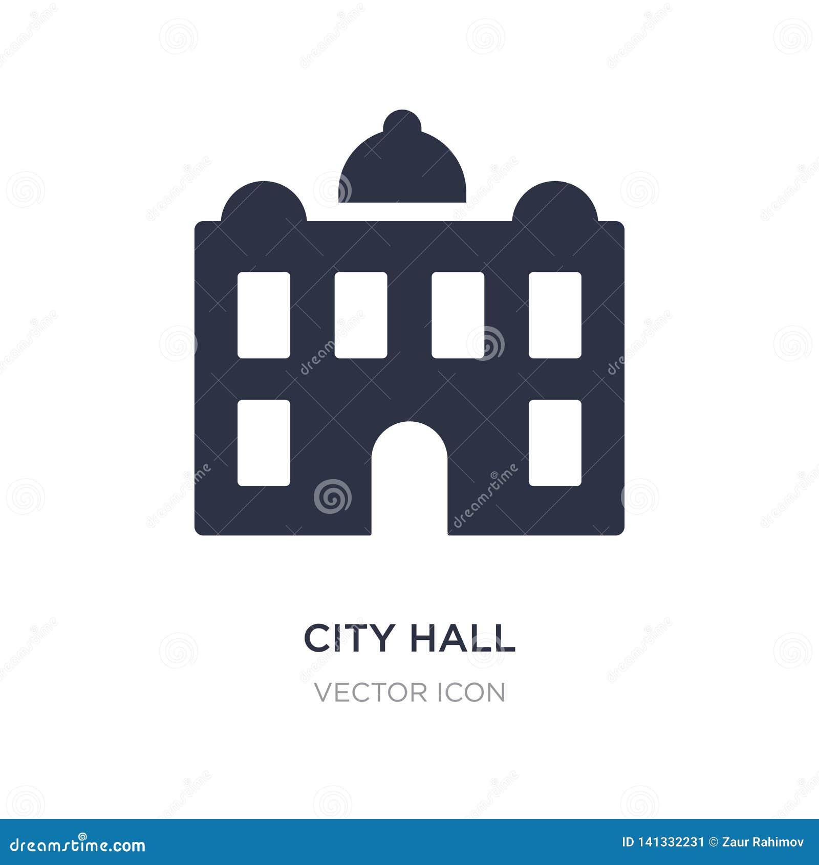 Icono del ayuntamiento en el fondo blanco Ejemplo simple del elemento del concepto de los elementos de la ciudad