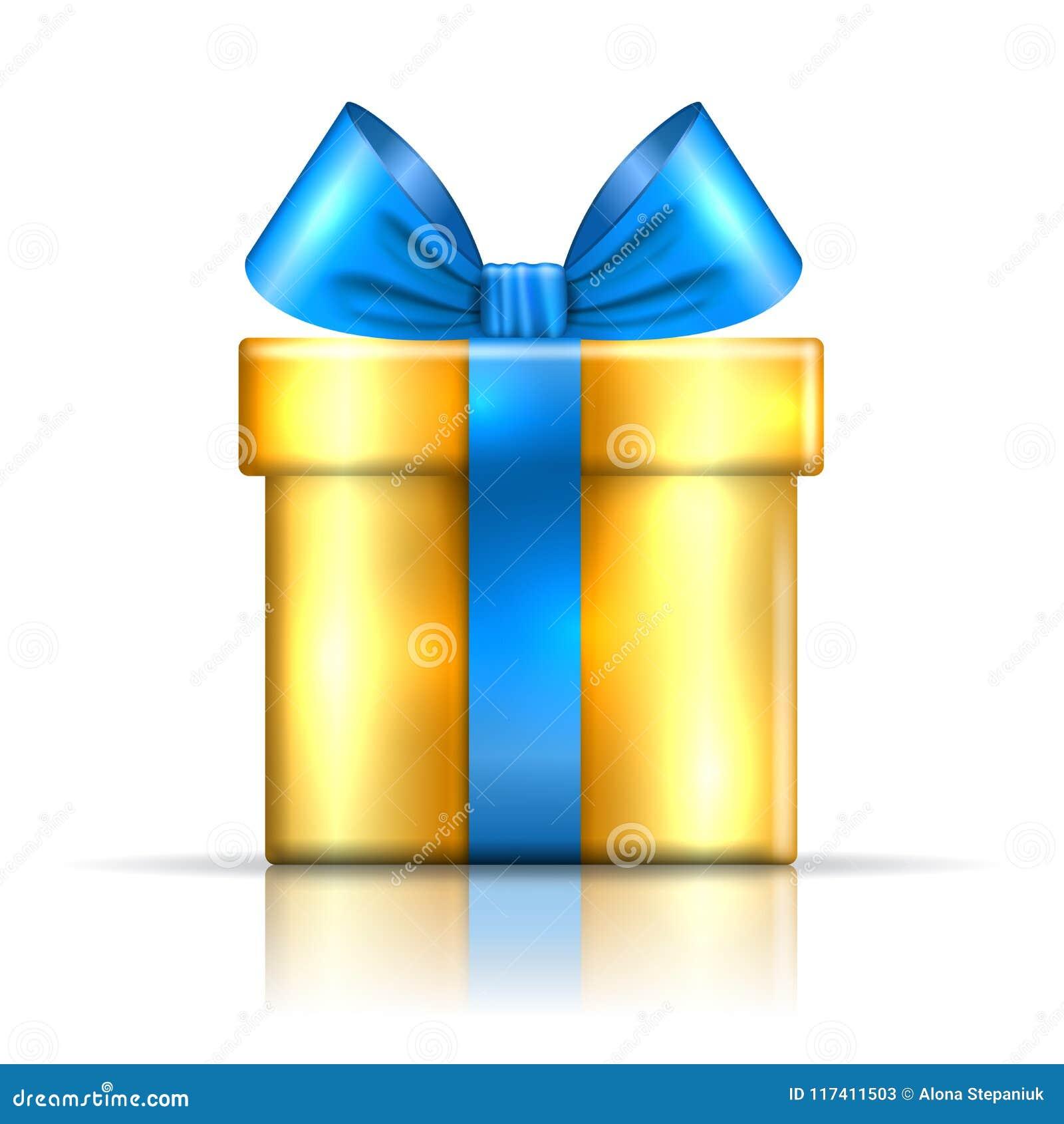 Icono del azul de la caja de regalo Sorprenda la actual plantilla, arco de la cinta del oro, fondo blanco aislado decoración del