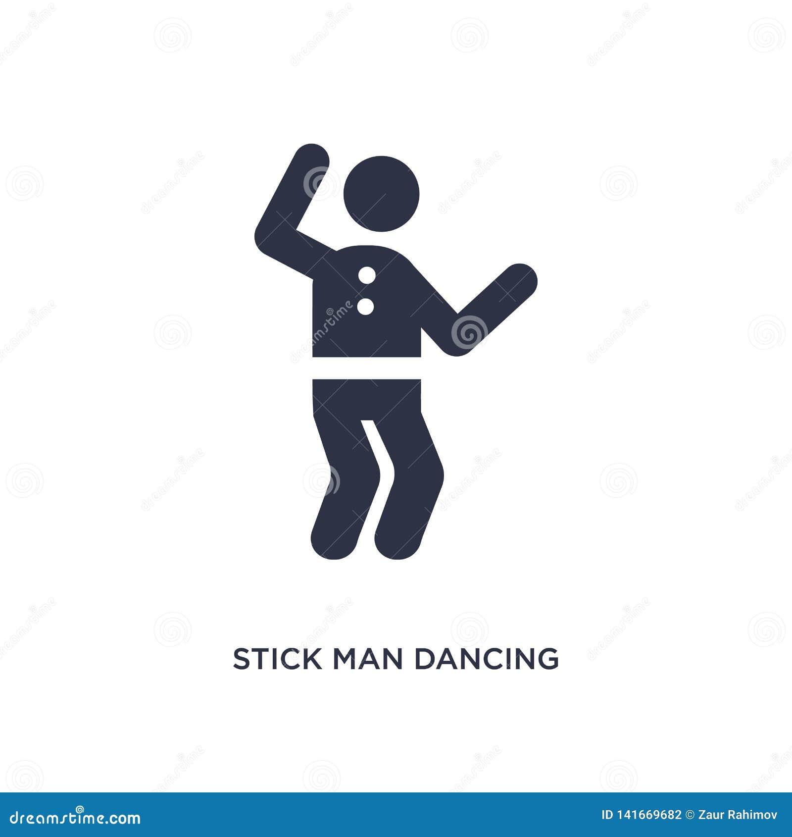 Icono del baile del hombre del palillo en el fondo blanco Ejemplo simple del elemento del concepto del comportamiento