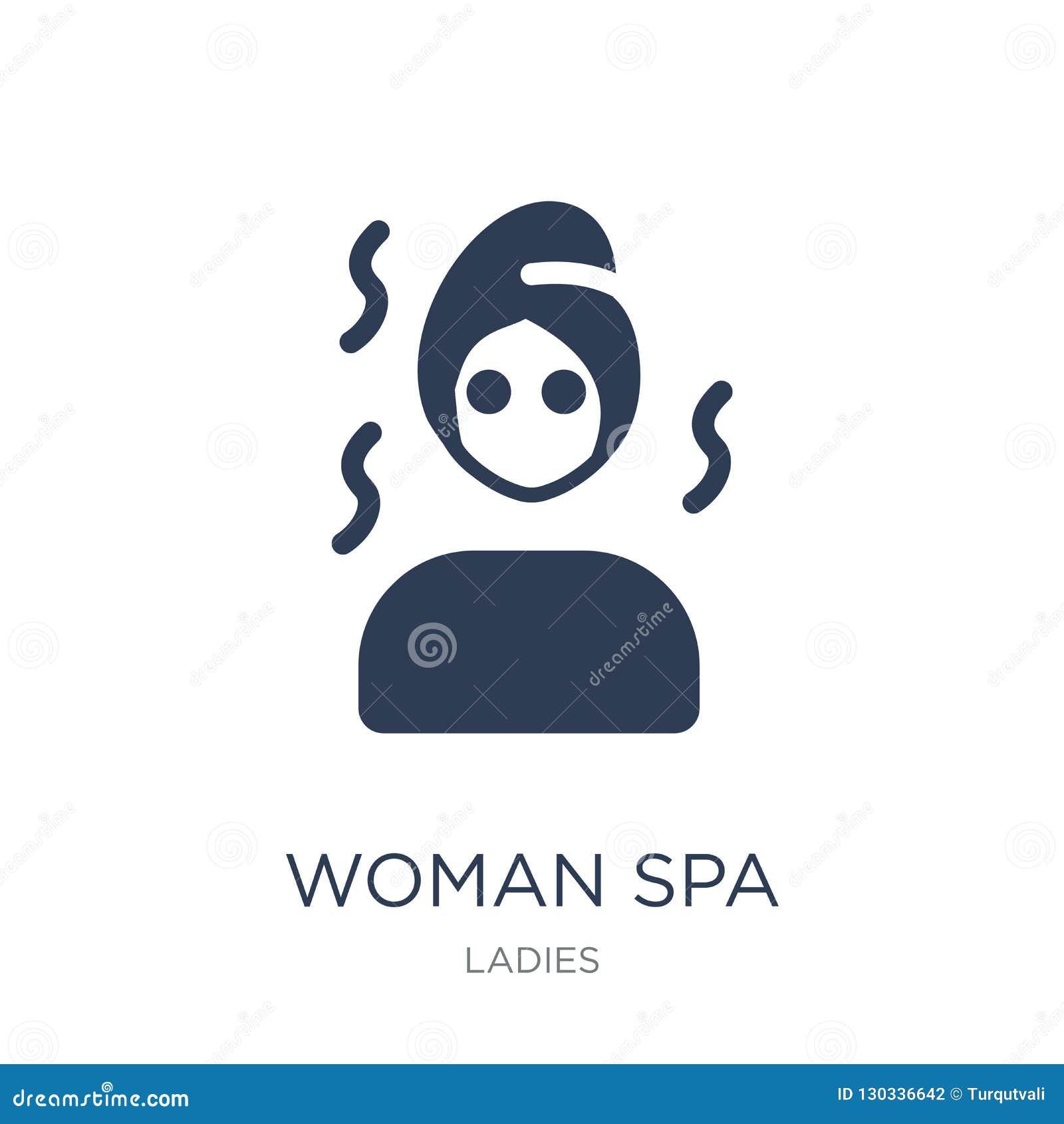 Icono del balneario de la mujer Icono plano de moda del balneario de la mujer del vector en el backg blanco