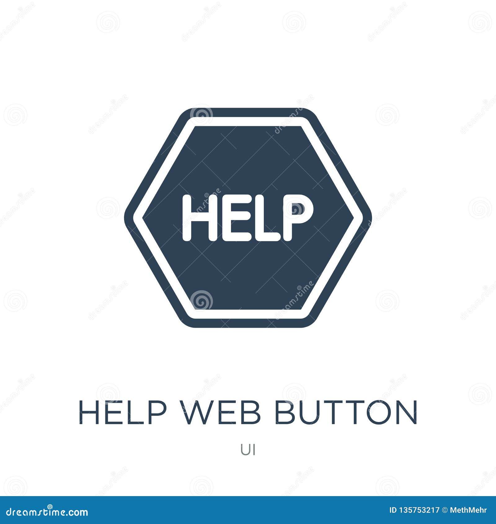 Icono del botón de la web de la ayuda en estilo de moda del diseño icono del botón de la web de la ayuda aislado en el fondo blan