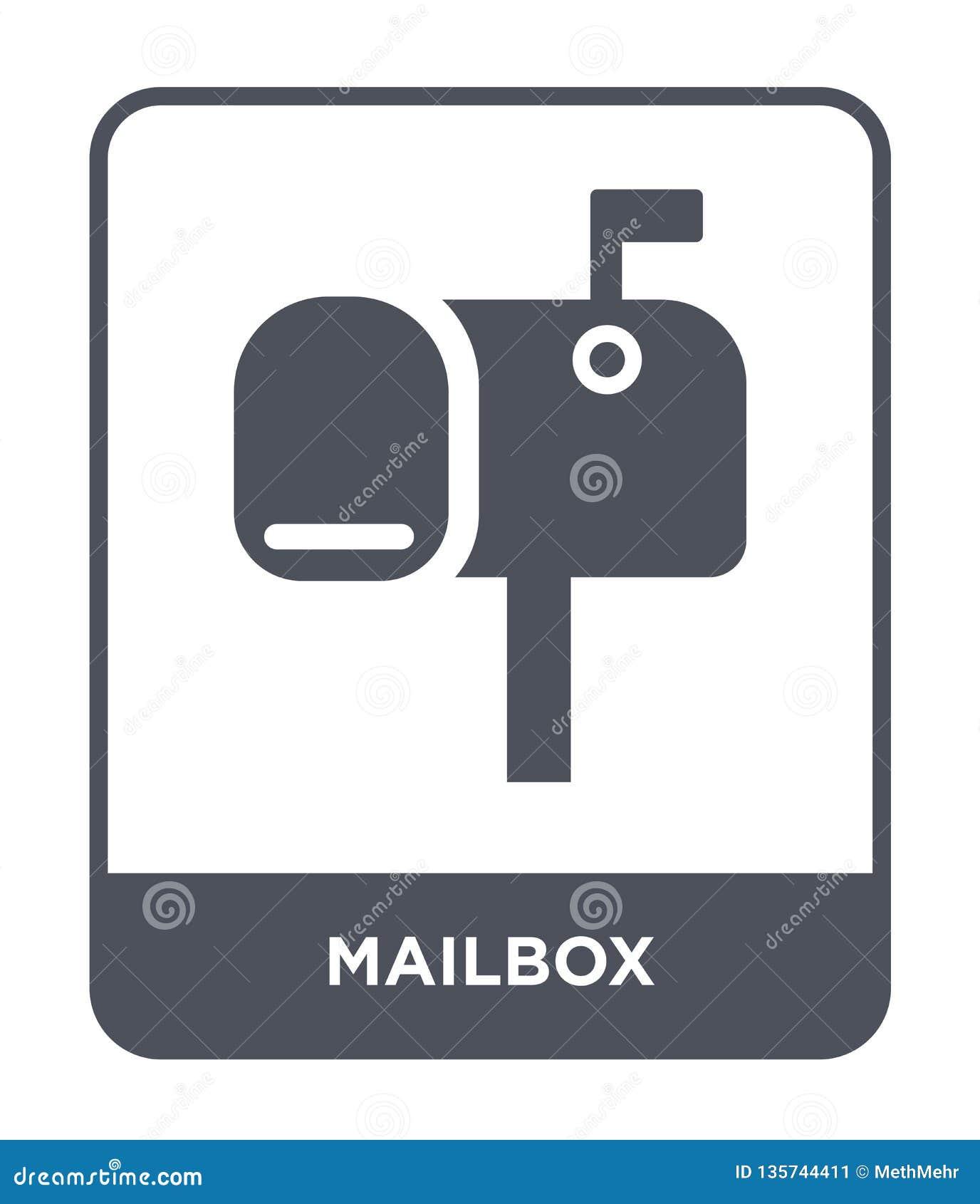Icono del buzón en estilo de moda del diseño Icono del buzón aislado en el fondo blanco símbolo plano simple y moderno del icono
