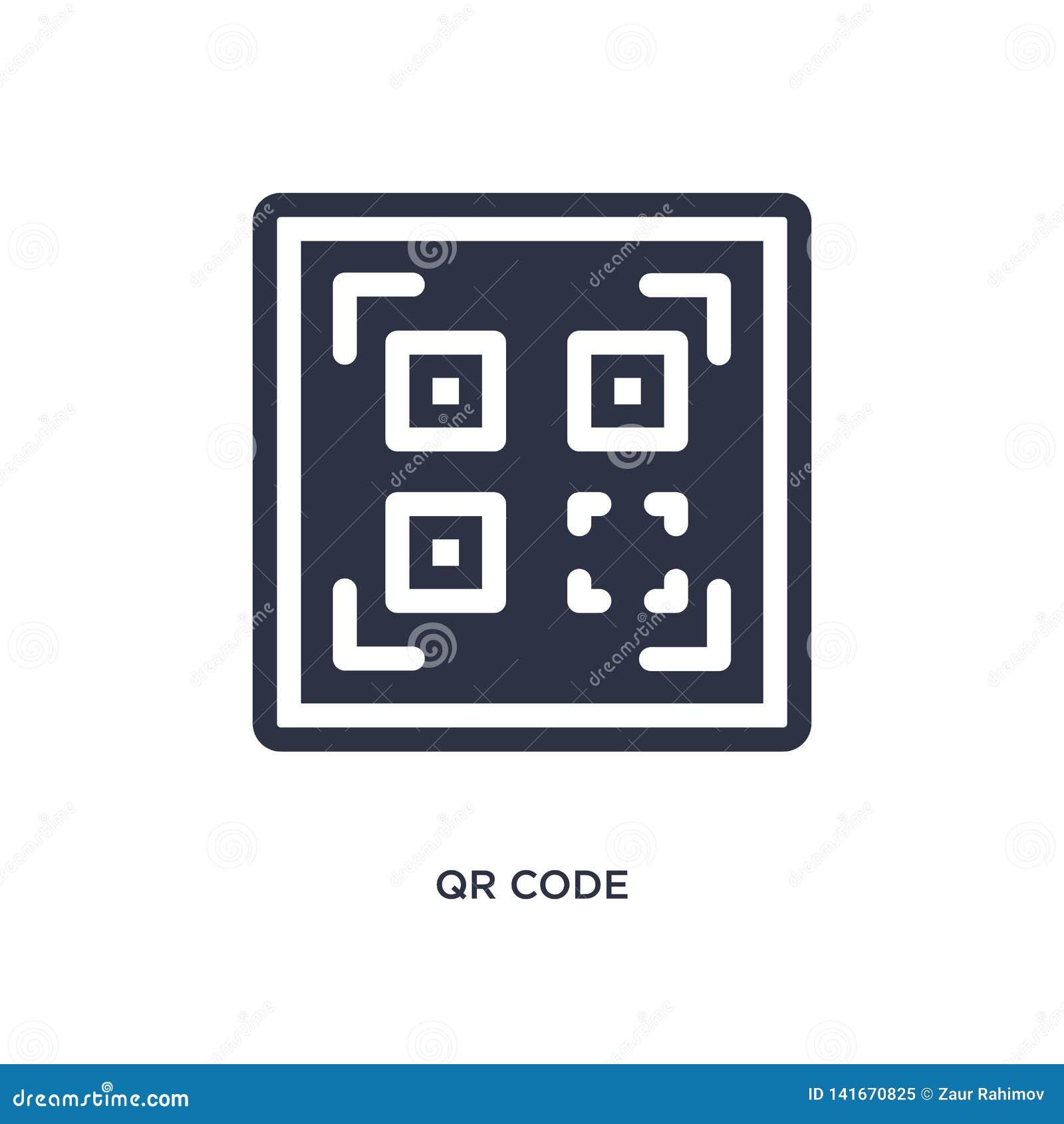 Icono del código de Qr en el fondo blanco Ejemplo simple del elemento de la entrega y del concepto logístico