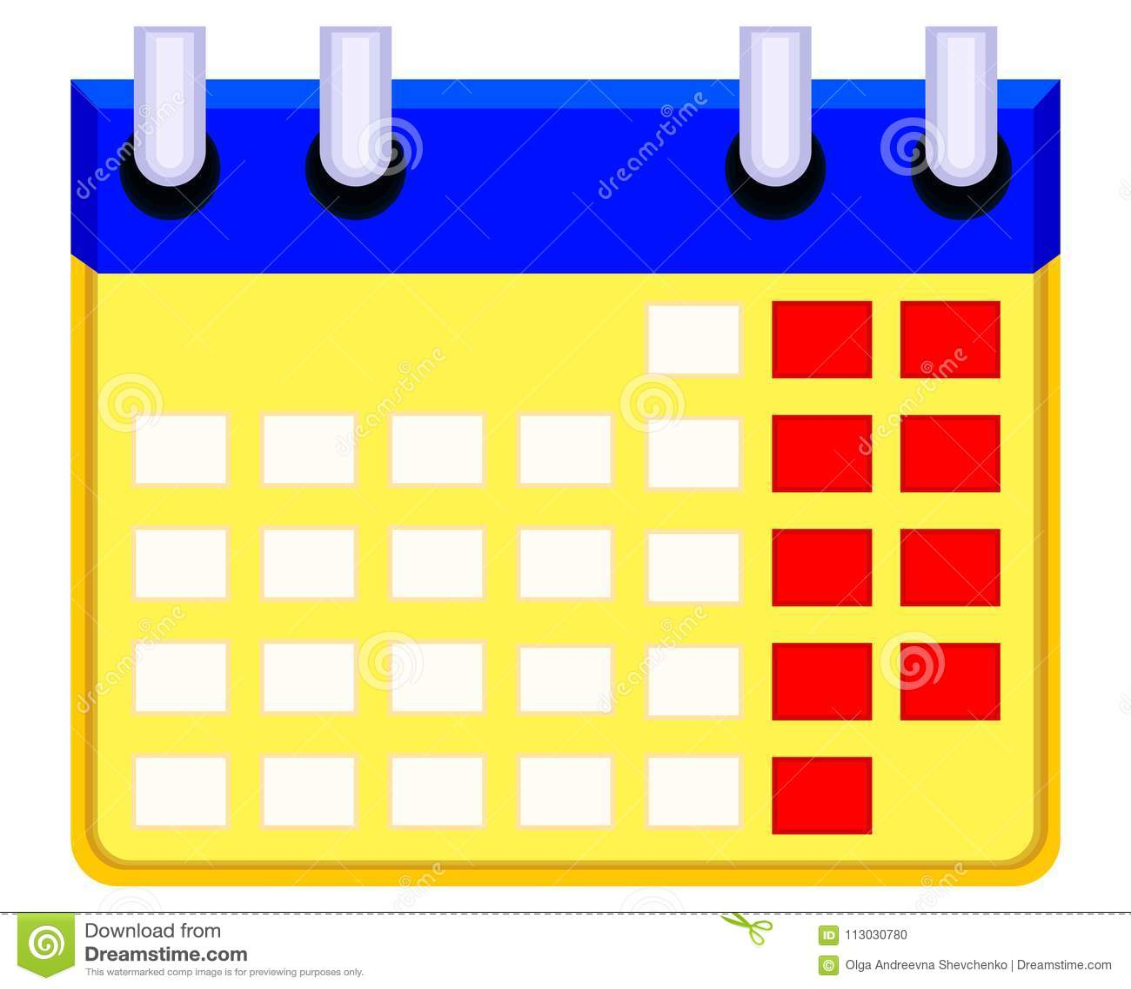 Icono del calendario de la historieta de Colorfull