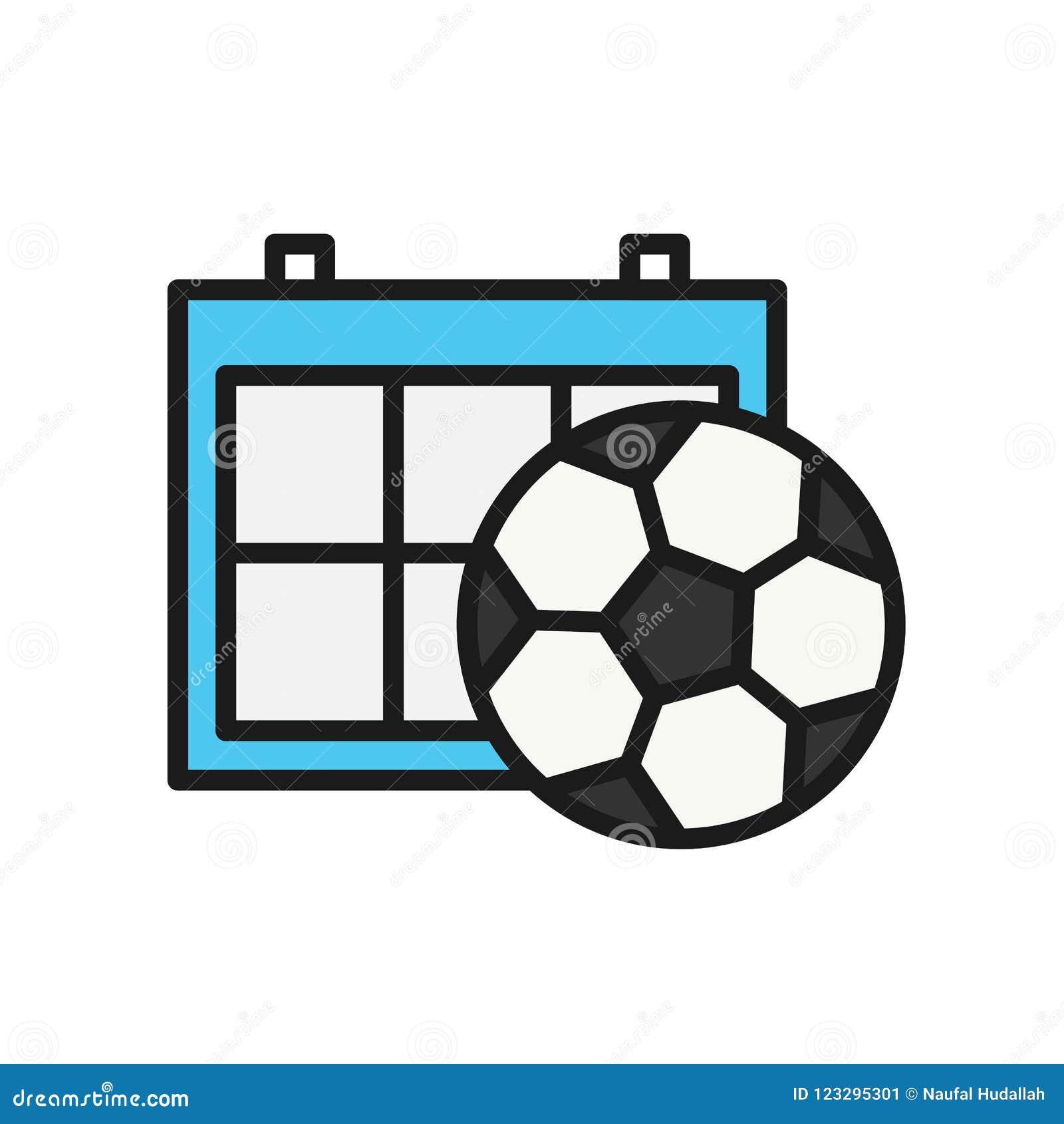 Futbol Calendario.Icono Del Calendario Del Horario Del Futbol Simbolo Simple Del