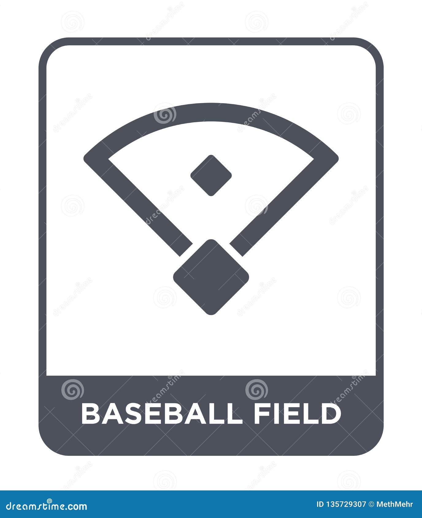 Icono del campo de béisbol en estilo de moda del diseño icono del campo de béisbol aislado en el fondo blanco icono del vector de
