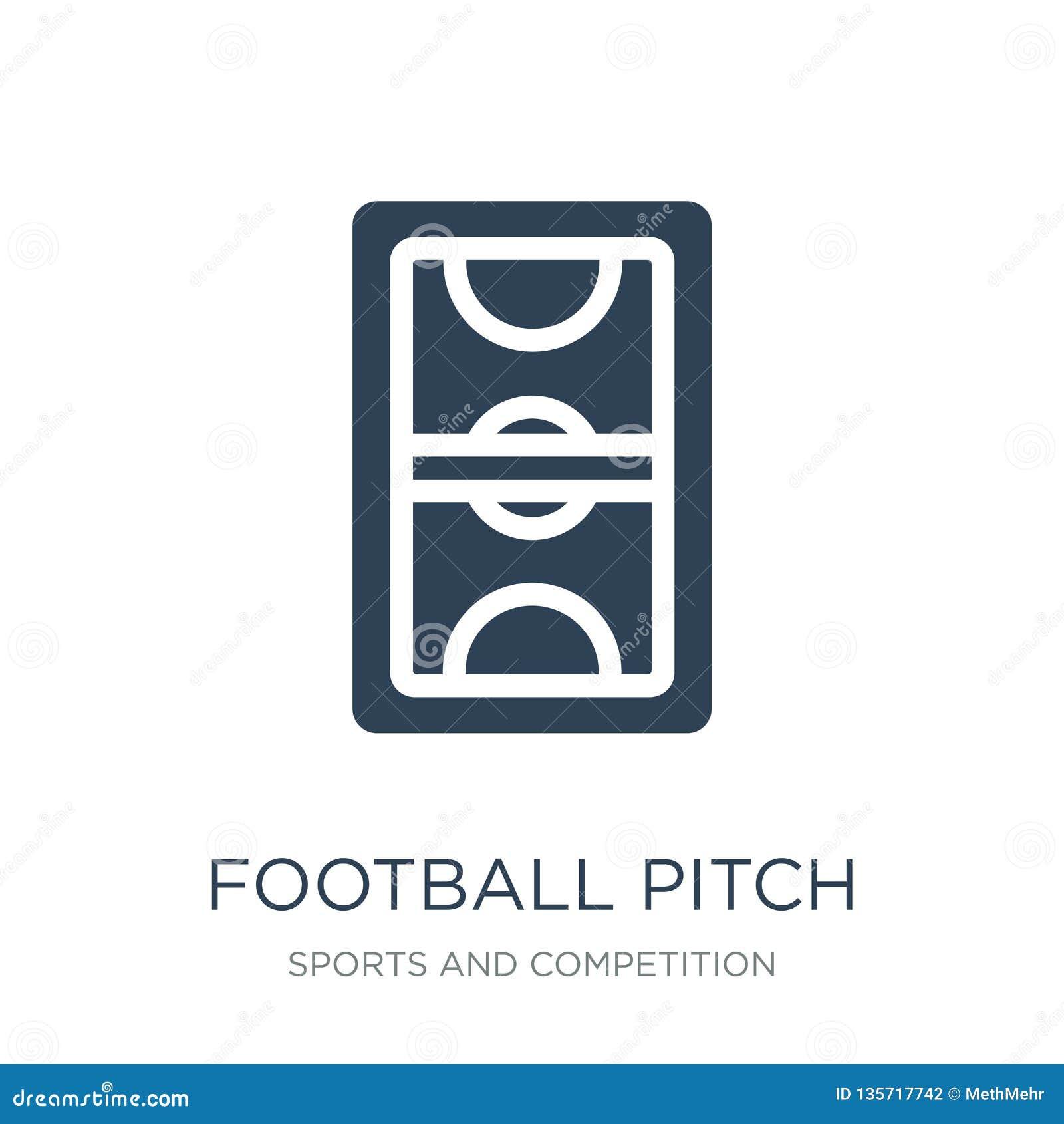 Icono del campo de fútbol en estilo de moda del diseño icono del campo de fútbol aislado en el fondo blanco icono del vector del
