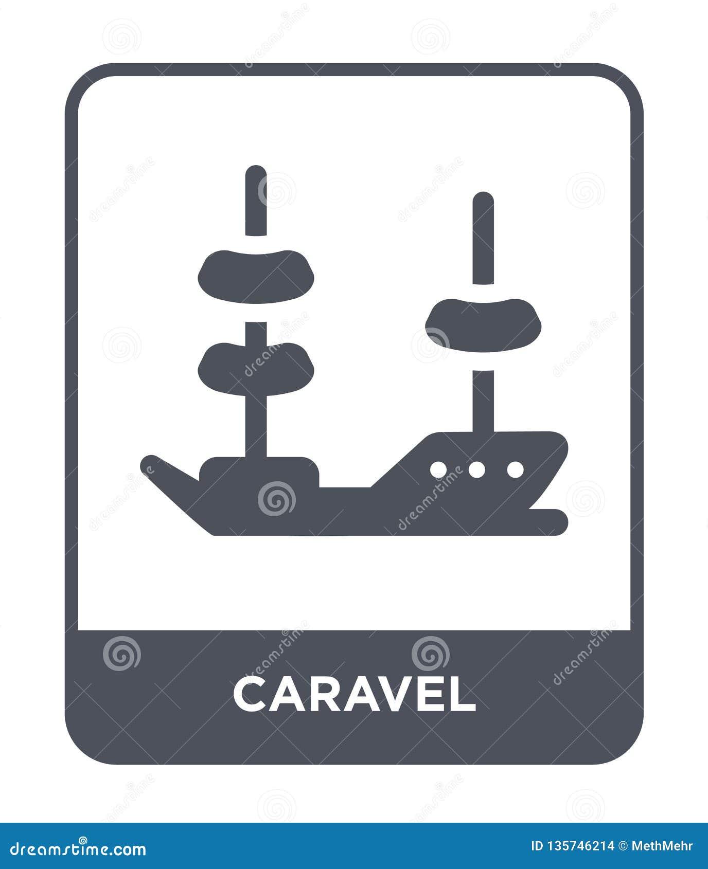 Icono del caravel en estilo de moda del diseño icono del caravel aislado en el fondo blanco símbolo plano simple y moderno del ic