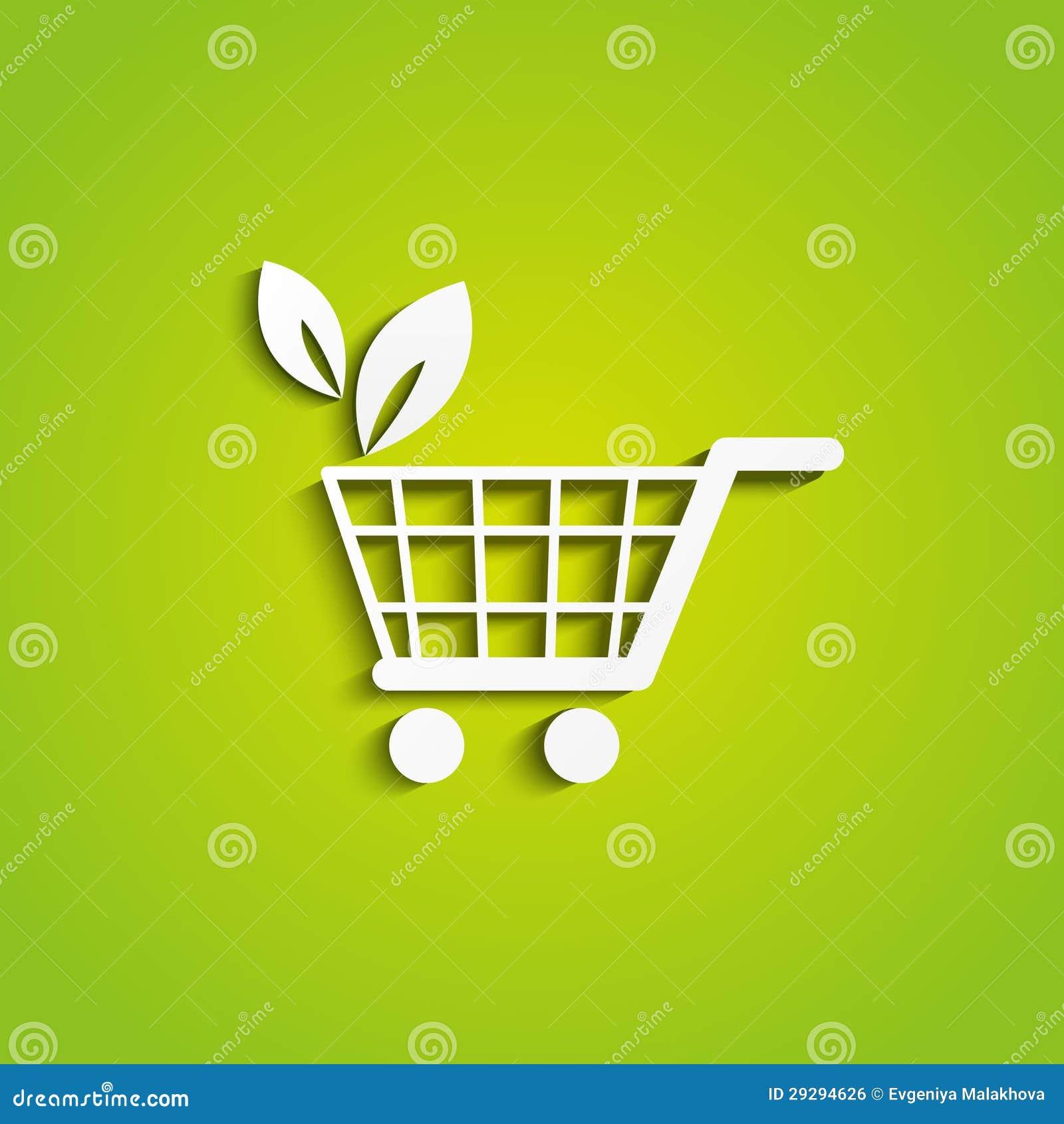 Icono del carro de la compra de la ecología