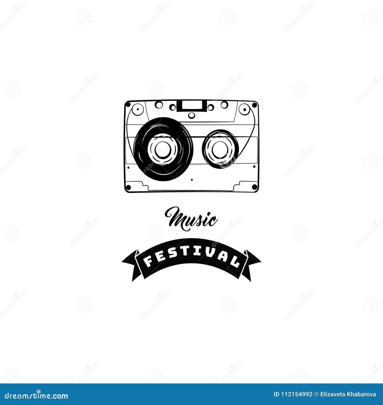 Icono del casete audio Cinta de audio Logotipo festical de la tienda de la tienda de la música Ilustración del vector