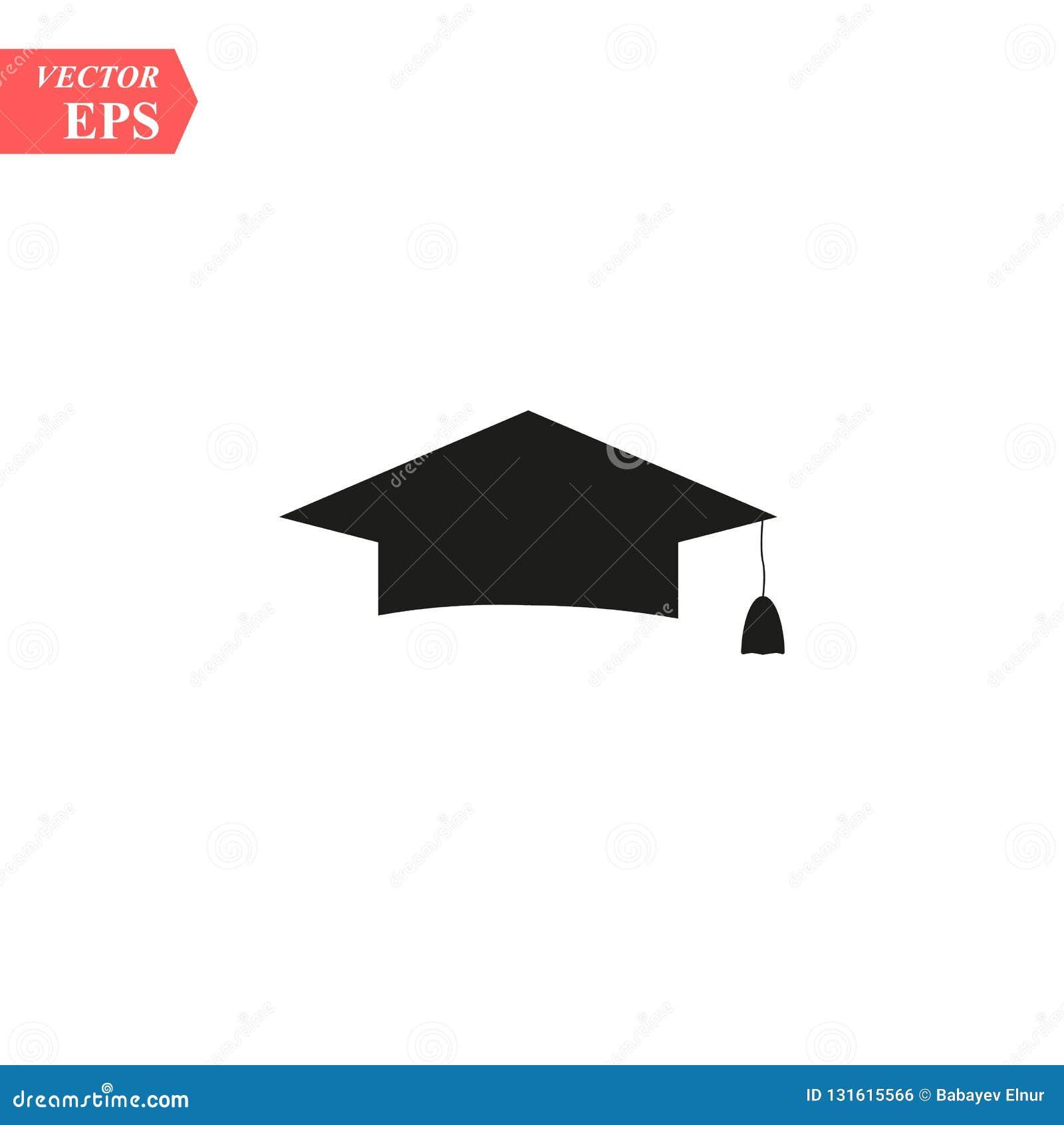 Icono del casquillo de la graduación Fondo blanco con diseño de la sombra Ilustración del vector EPS10
