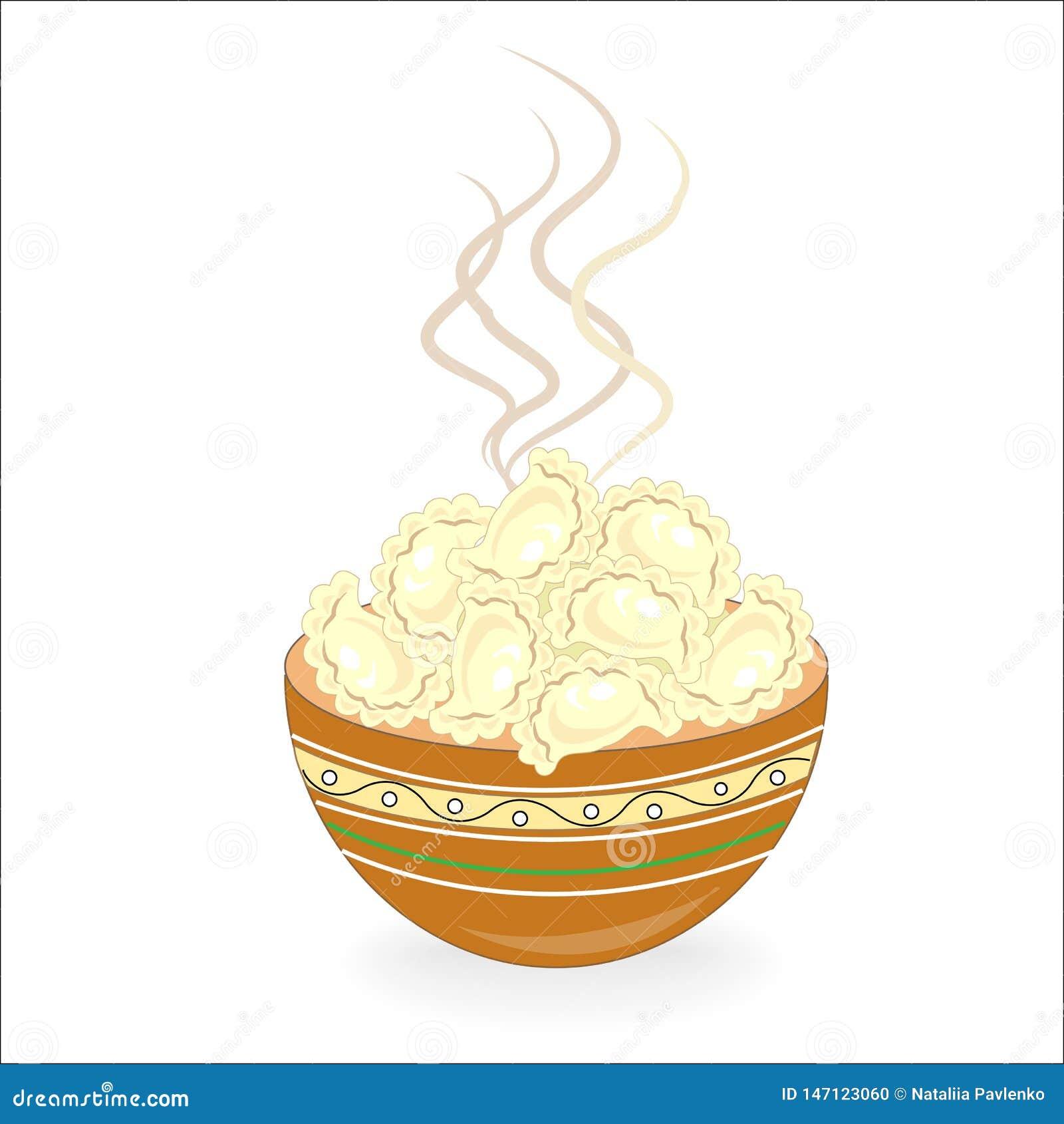 Icono del color con el plato nacional ucraniano Vareniki con el requesón, patatas, carne, bolas de masa hervida Decoraci?n de la