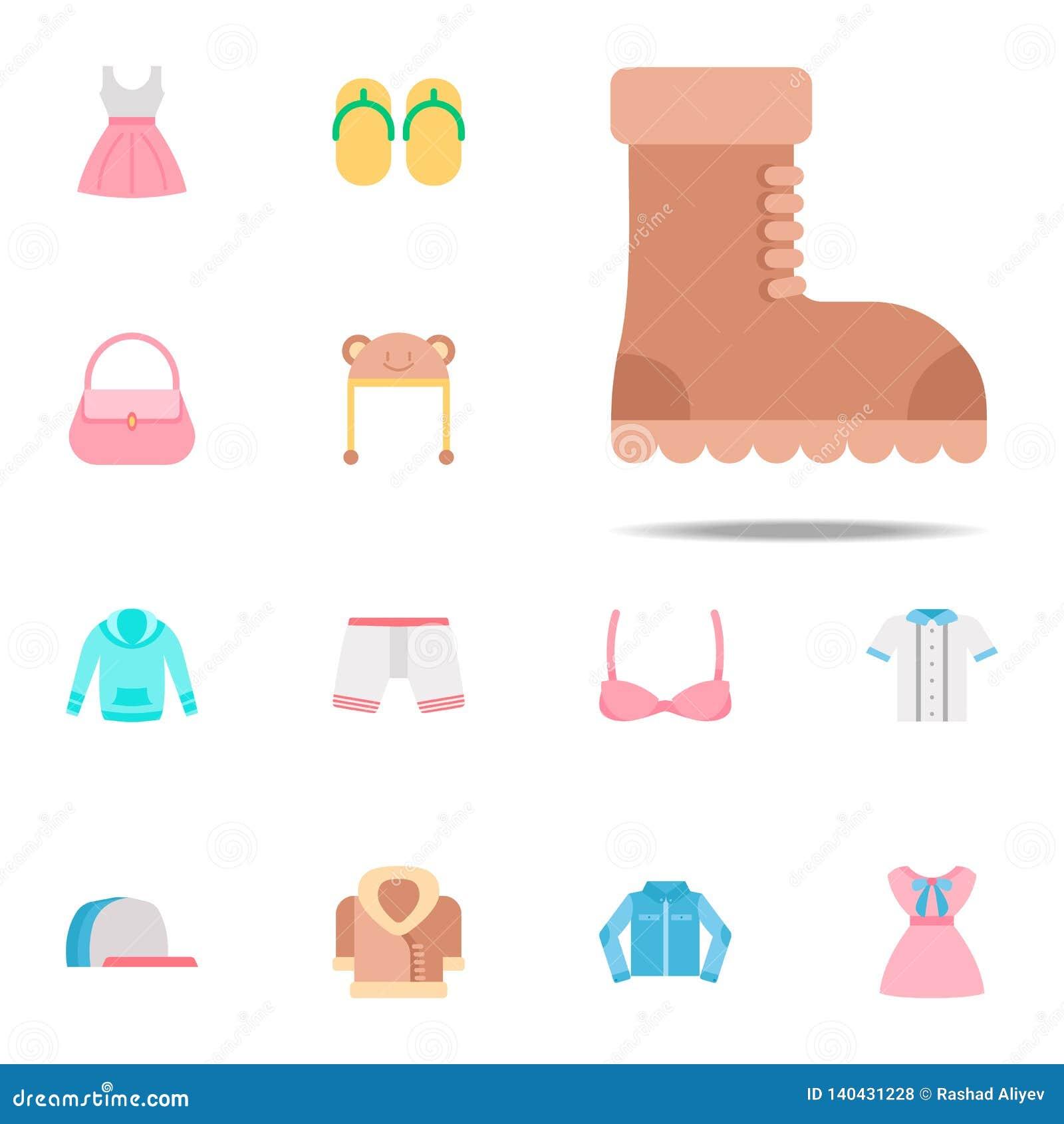 Icono del color de la bota Sistema universal de los iconos de la ropa para el web y el móvil
