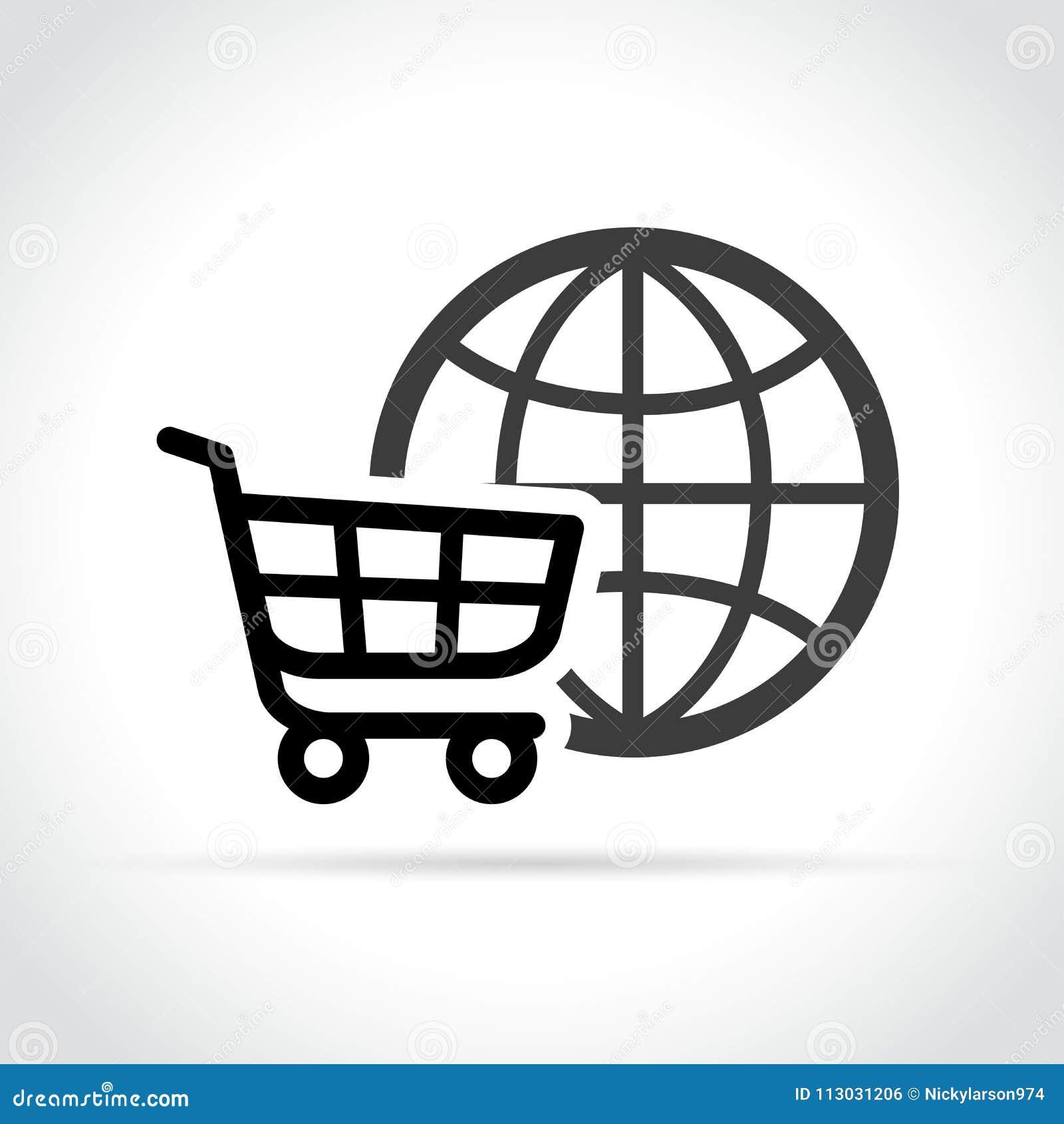 Icono del comercio electrónico en el fondo blanco