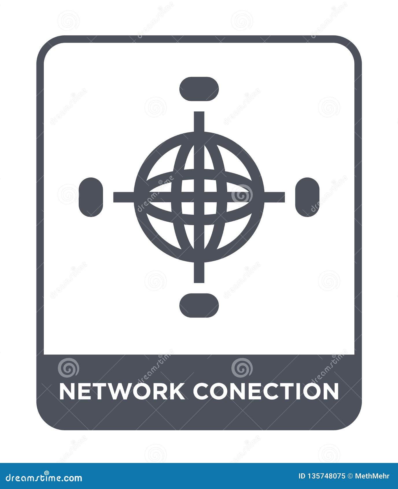 Icono del conection de la red en estilo de moda del diseño icono del conection de la red aislado en el fondo blanco icono del vec