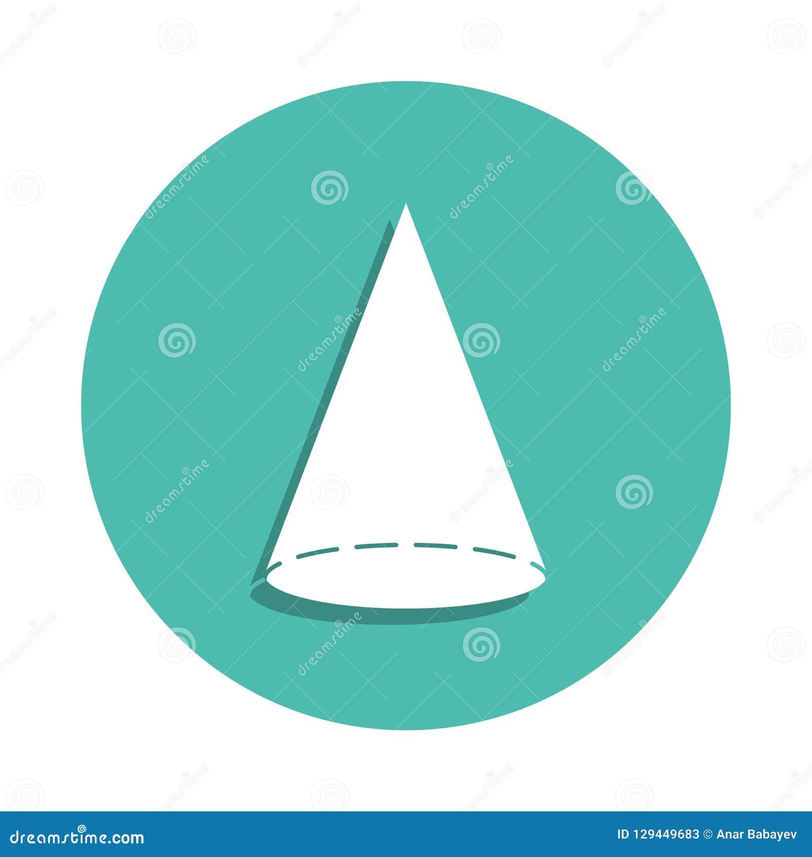 Icono del cono Elementos de la figura geométrica en iconos del estilo de la insignia Icono simple para las páginas web, diseño we