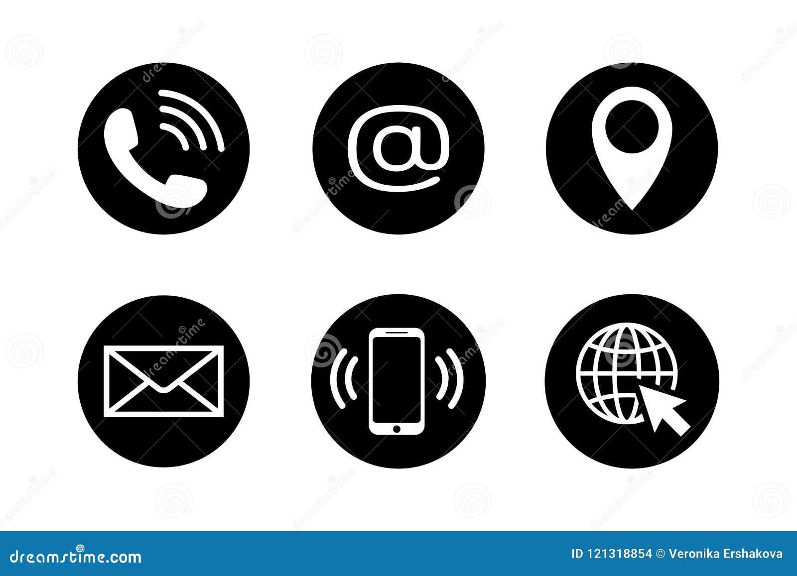 28f10988c2b Entre en contacto con los iconos en círculos negros en estilo plano Sistema  del icono del teléfono, del correo, del teléfono móvil, del correo  electrónico, ...