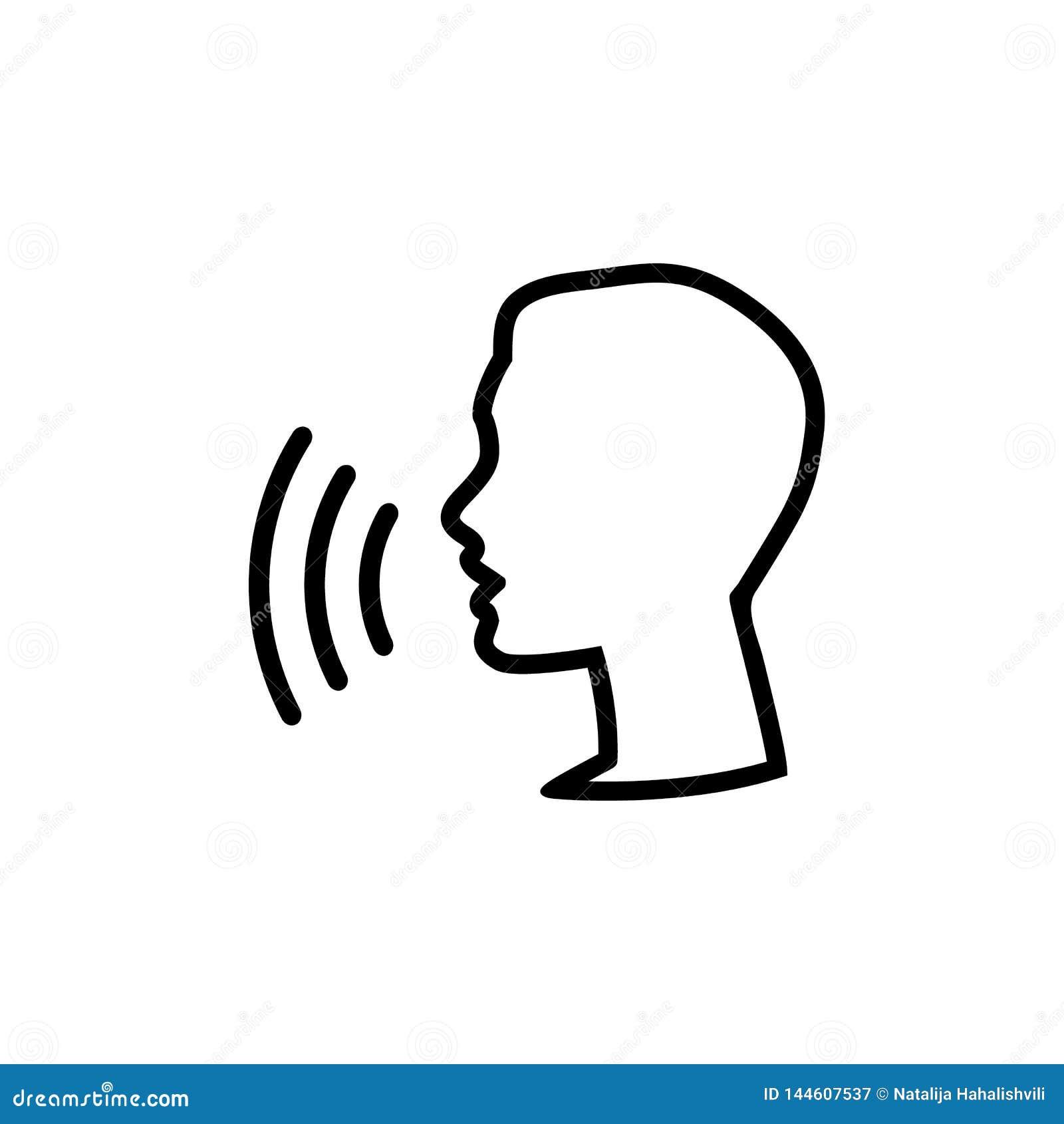 Icono del control de la voz Hable o hable el icono linear del reconocimiento, discurso y comando que habla, comandante sano o dis
