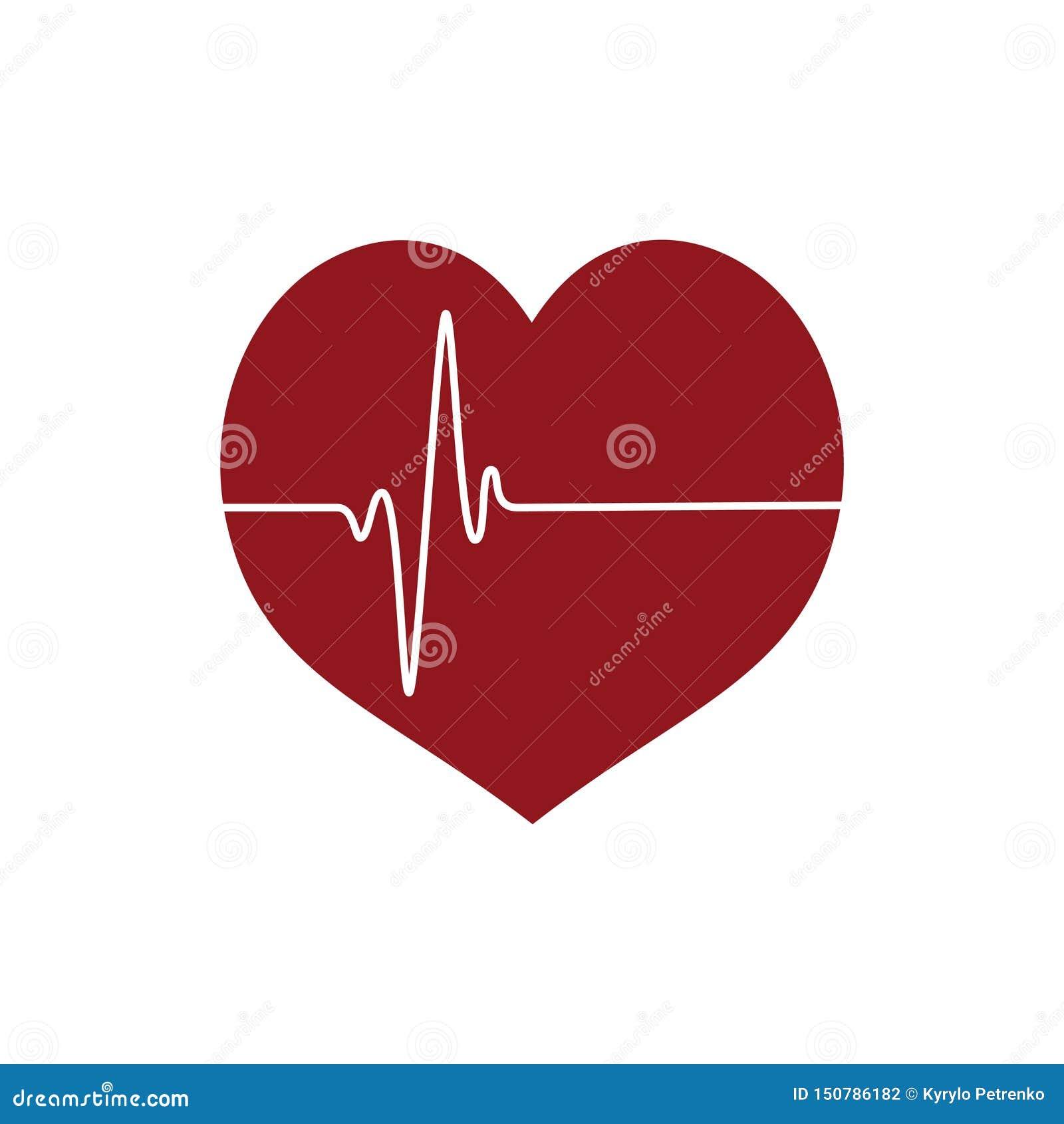 Icono del corazón con la línea heartbeating fondo blanco