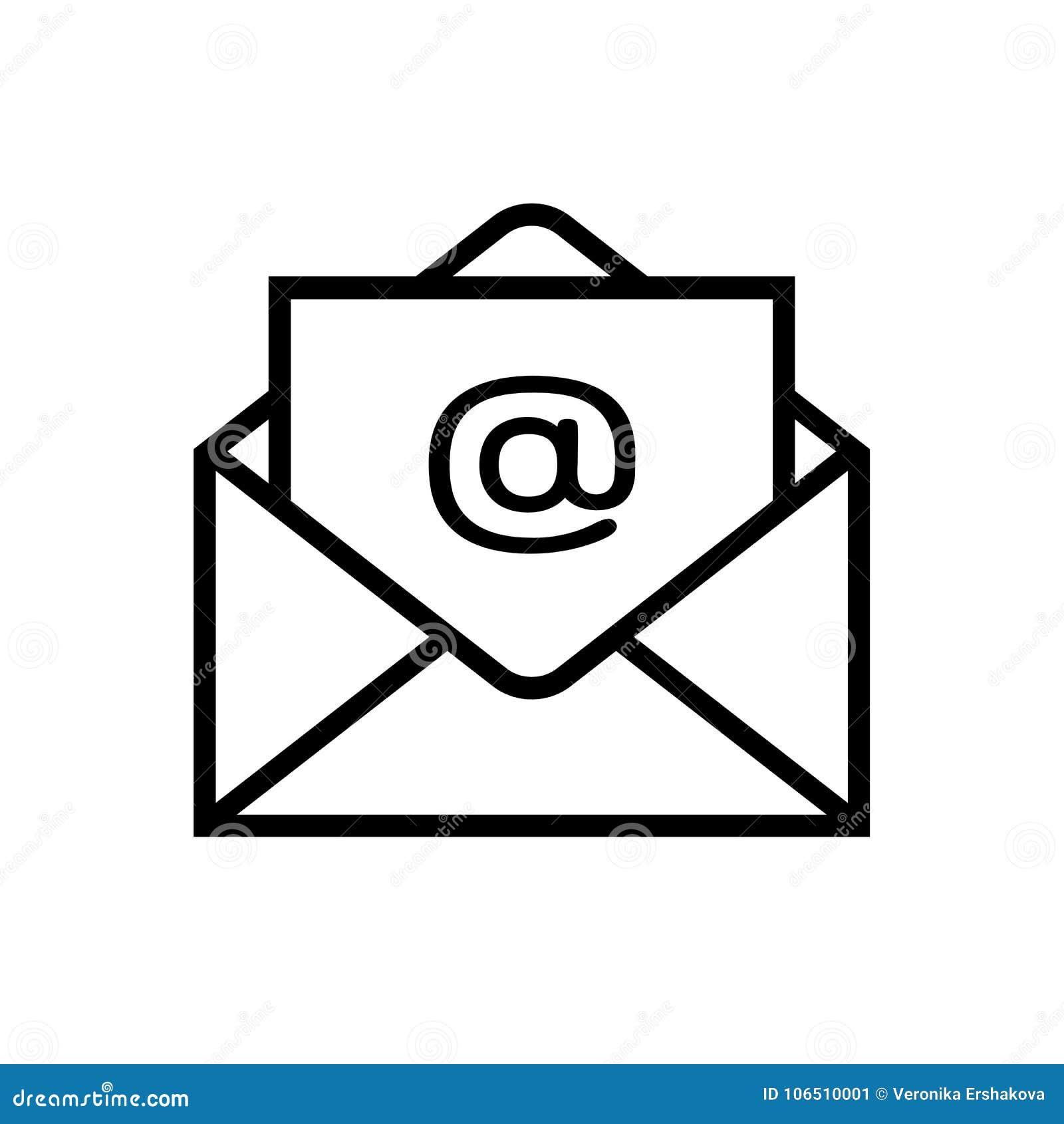 Icono del correo electrónico aislado en el fondo blanco