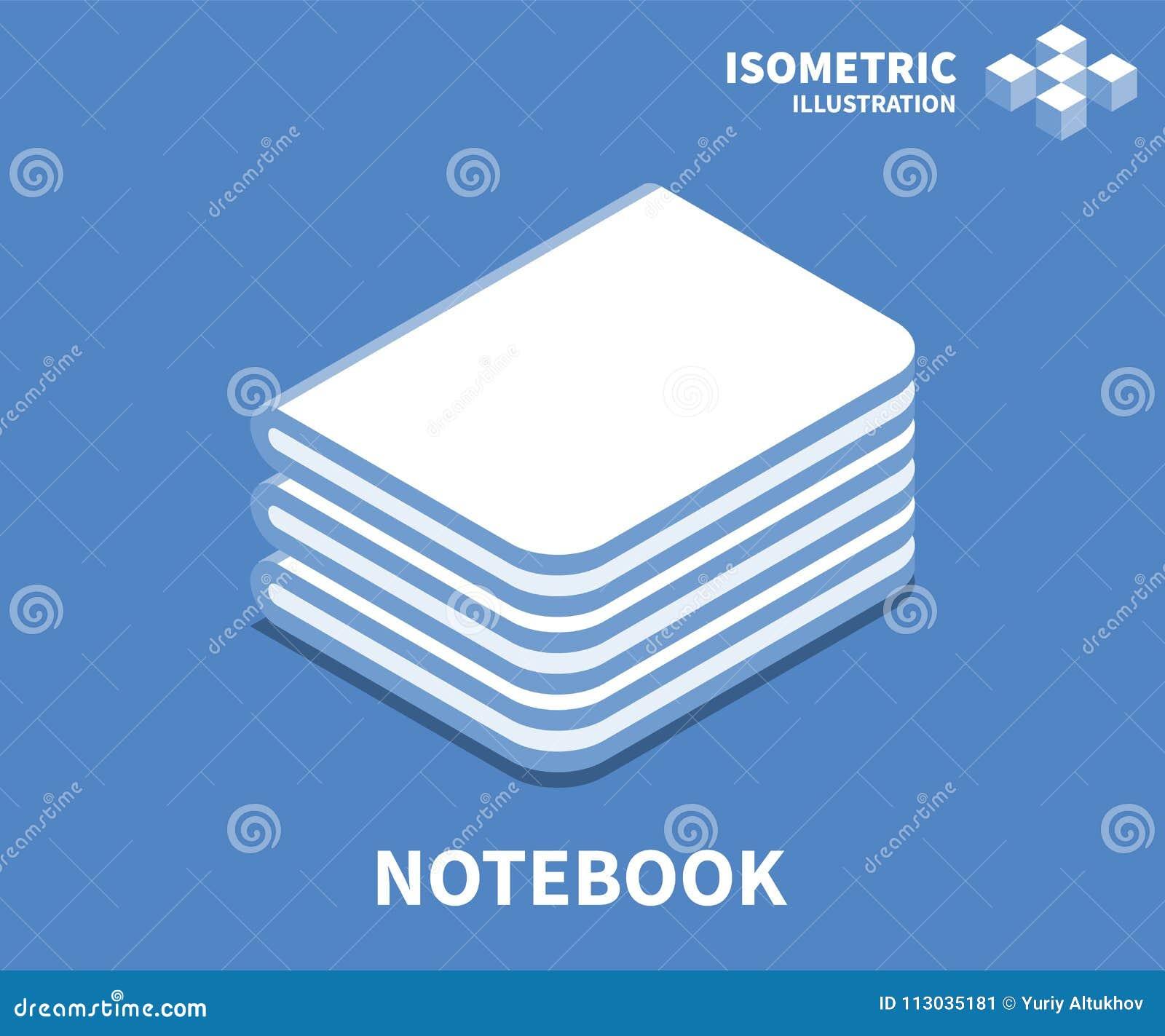 Icono del cuaderno, ejemplo del vector en el estilo isométrico plano 3D