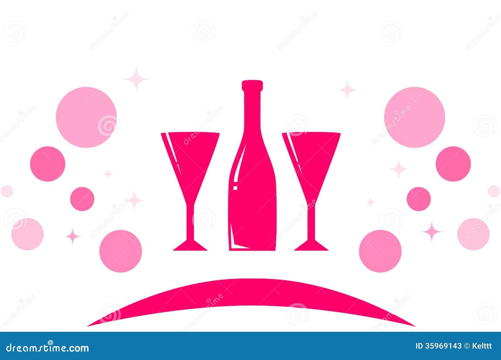Icono del día de fiesta con dos de cristal y la botella