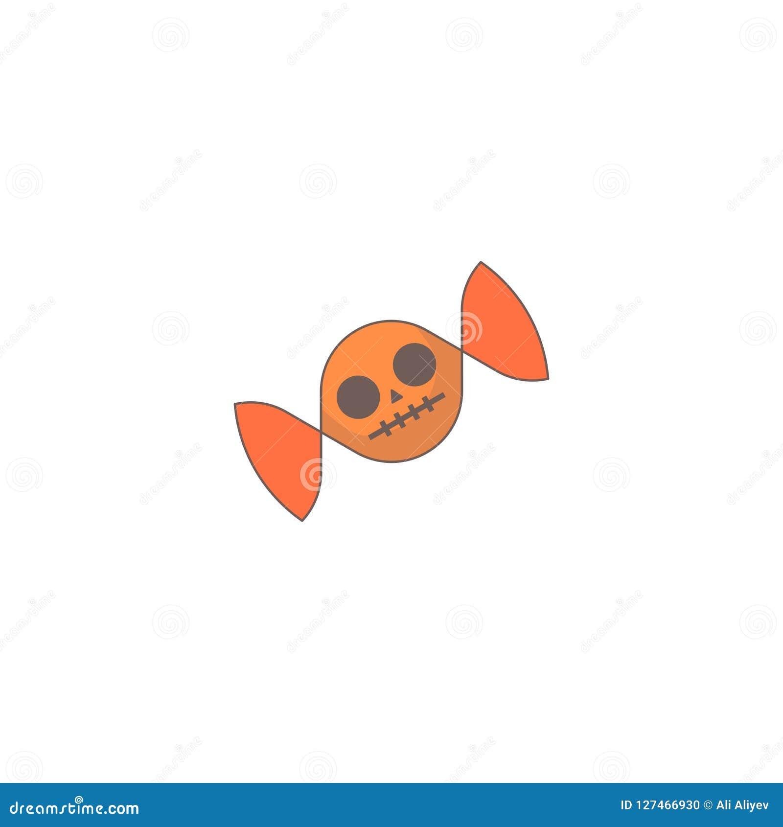 Icono del día de fiesta de Halloween, icono del cráneo del caramelo