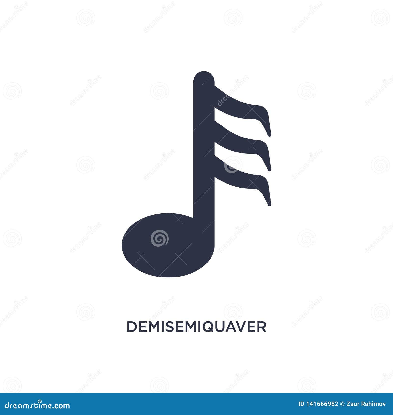 Icono del demisemiquaver en el fondo blanco Ejemplo simple del elemento de la música y del concepto de los medios