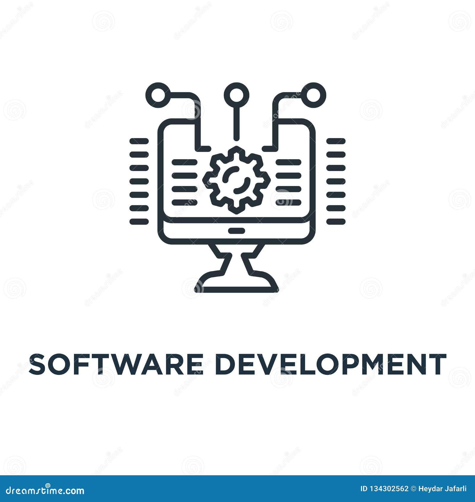Icono del desarrollo de programas concepto de la integración y de la automatización sy