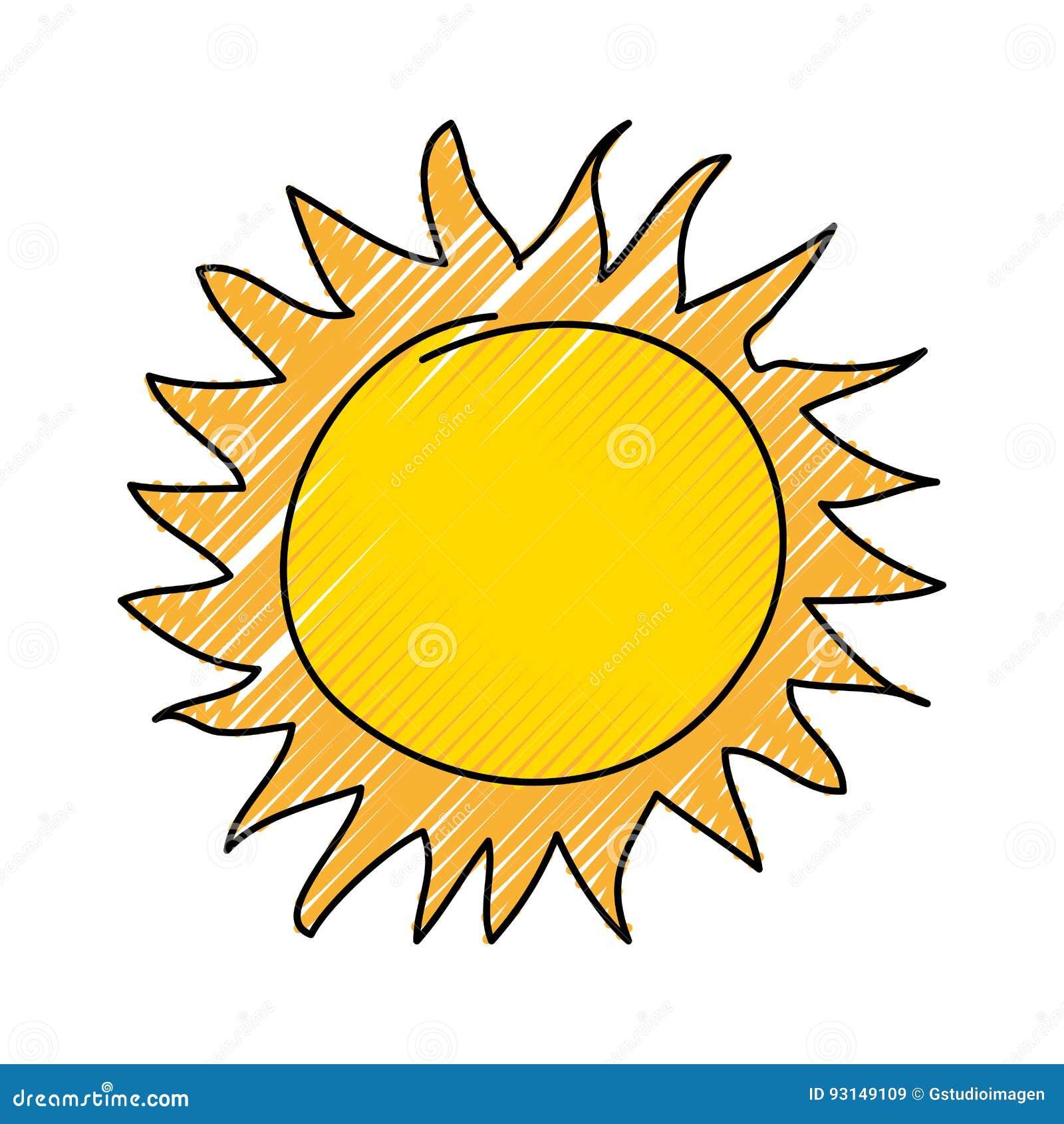 icono del dibujo del sol del verano ilustración del vector