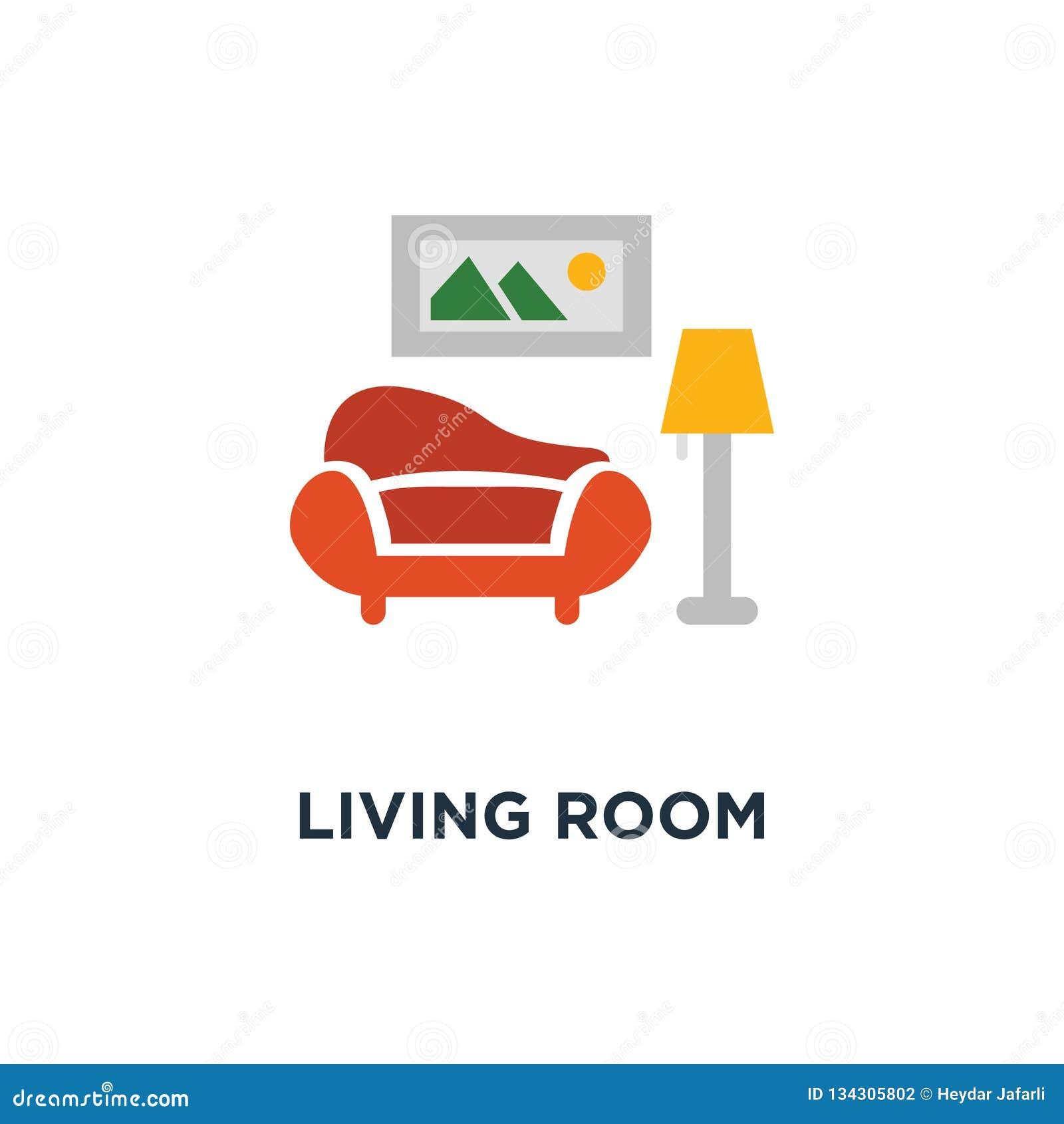 Icono del diseño interior de la sala de estar diseño del símbolo del concepto del sofá y de la lámpara de pie, imagen y pote de l
