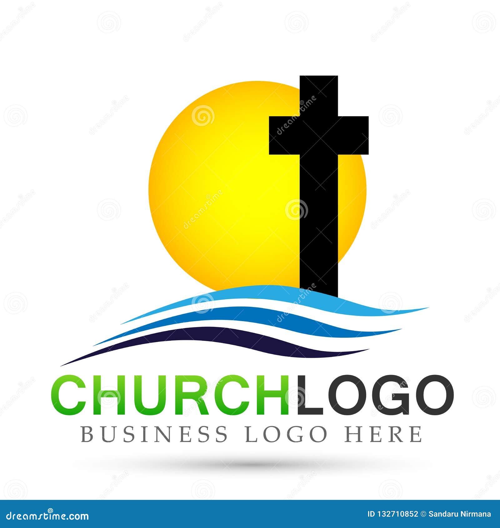 Icono del diseño del logotipo del amor del cuidado de la unión de la gente de la iglesia de la ciudad de la playa de Sun en el fo