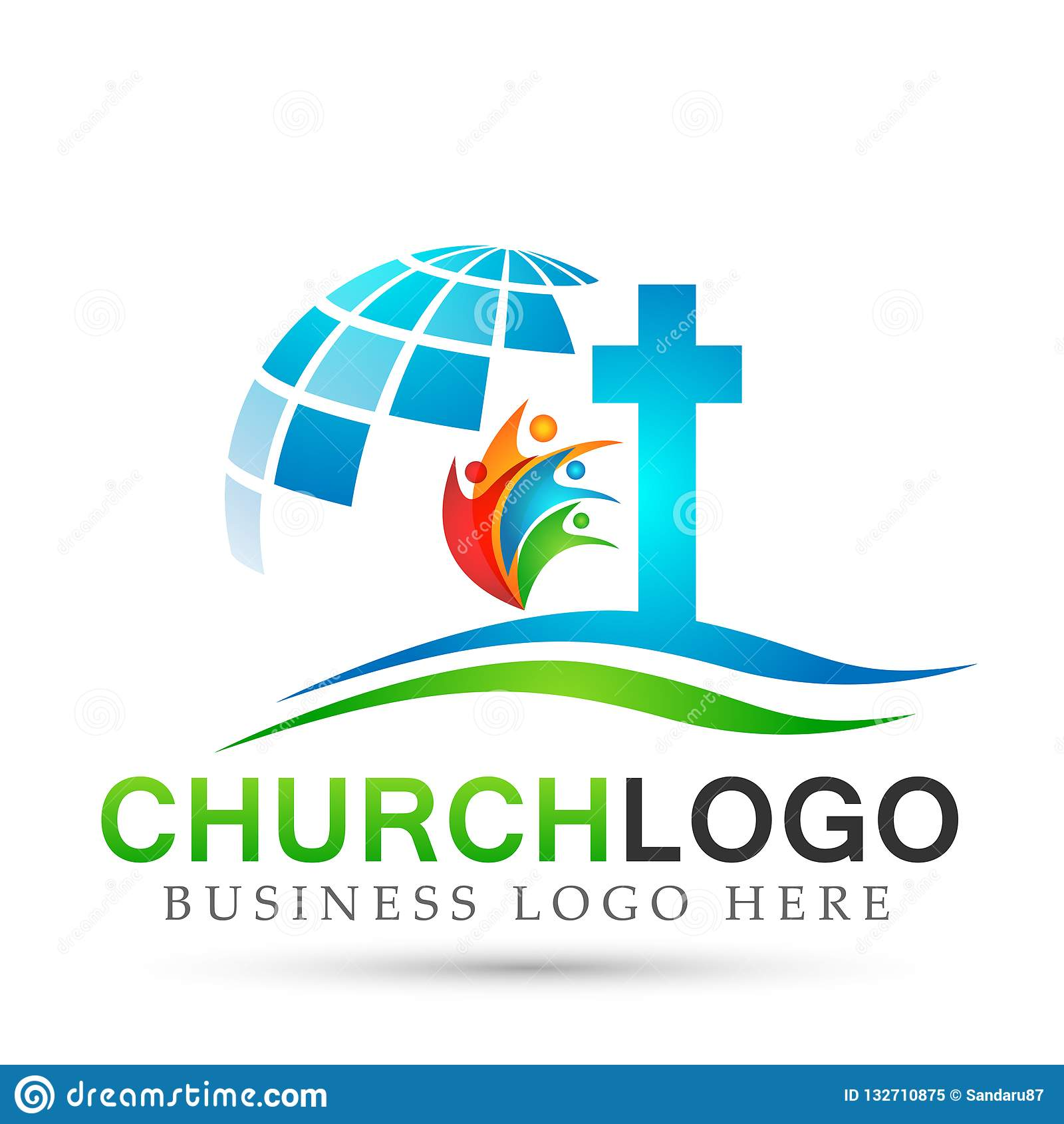 Icono del diseño del logotipo del amor del cuidado de la unión de la gente de la iglesia del globo en el fondo blanco Clásico, an