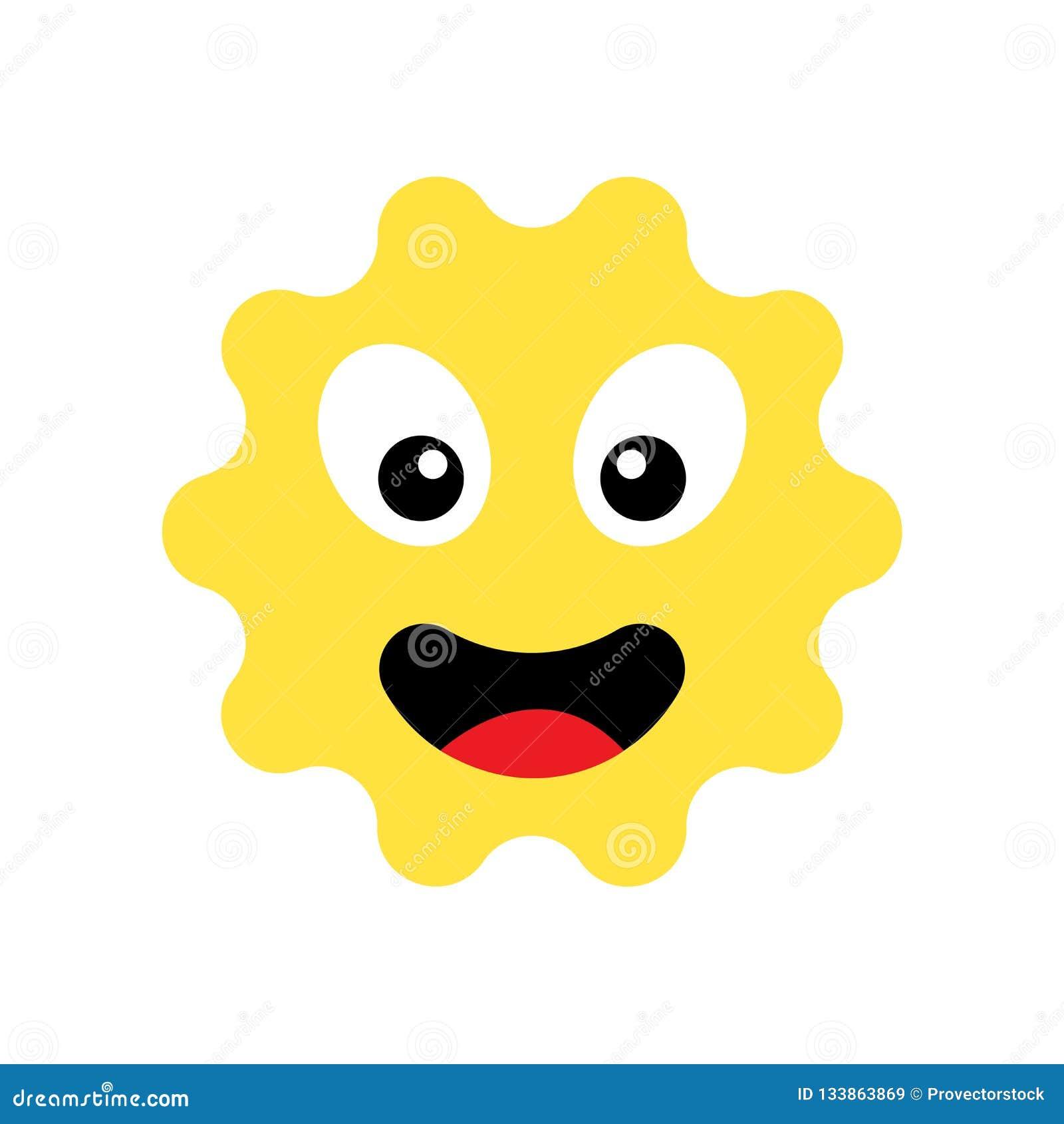 Icono del emoji de Sun aislado en el fondo blanco