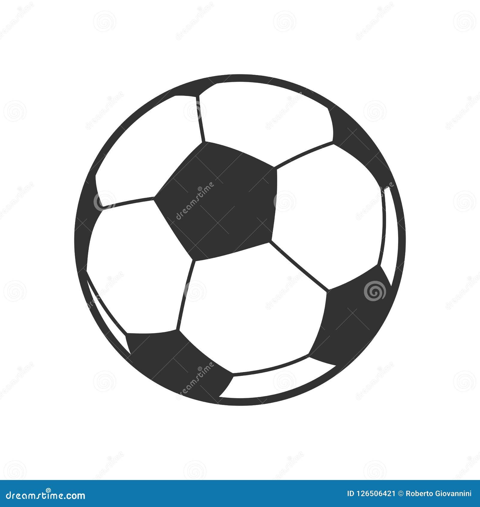 Icono del esquema del balón del fútbol o de fútbol en blanco