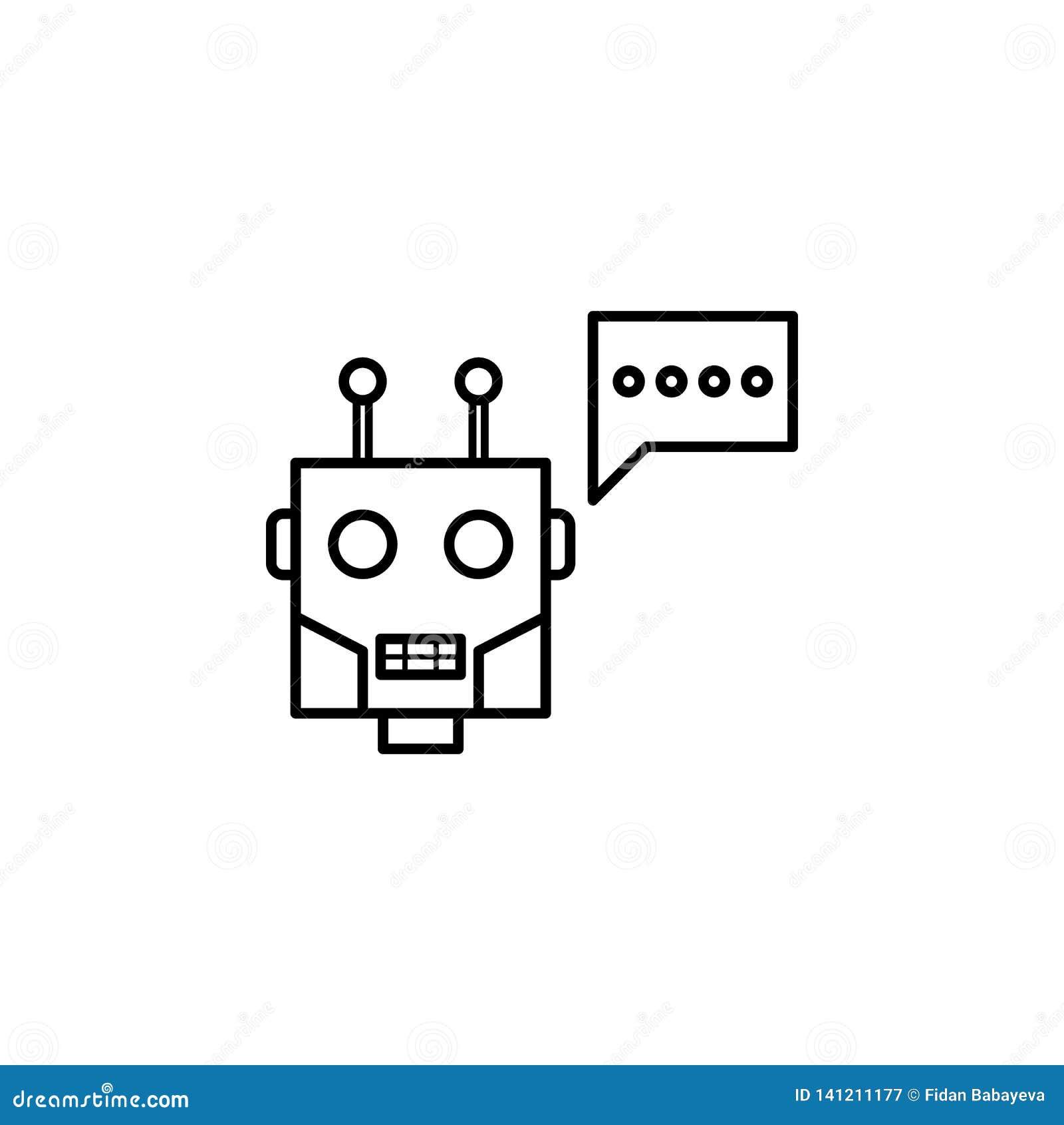Icono del esquema del chatbot de la robótica Las muestras y los símbolos se pueden utilizar para la web, logotipo, app móvil, UI,