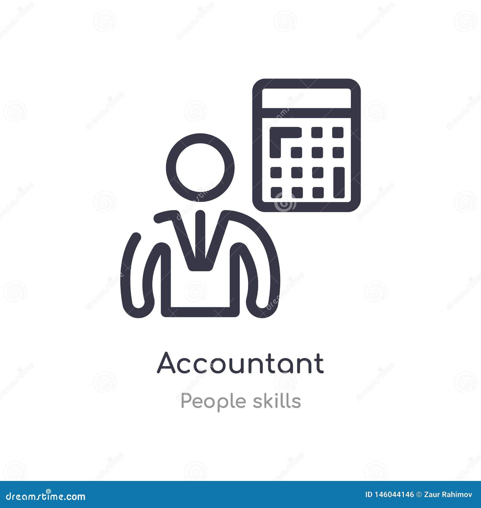 Icono del esquema del contable l?nea aislada ejemplo del vector de la colecci?n de las habilidades de la gente icono fino editabl