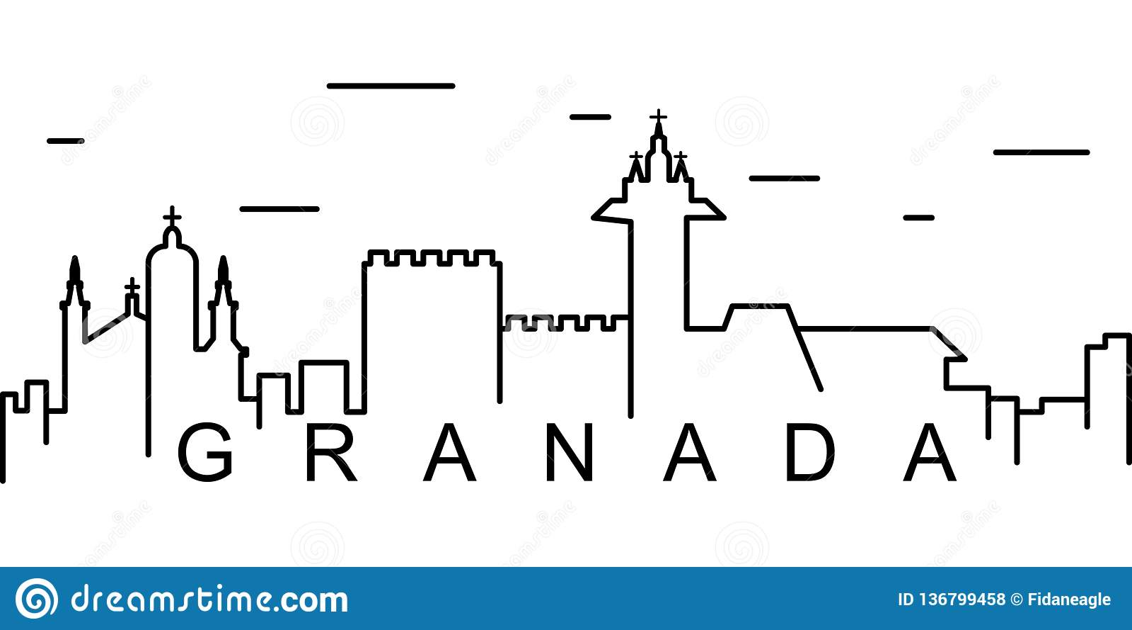 Icono del esquema de Granada Puede ser utilizado para la web, logotipo, app móvil, UI, UX