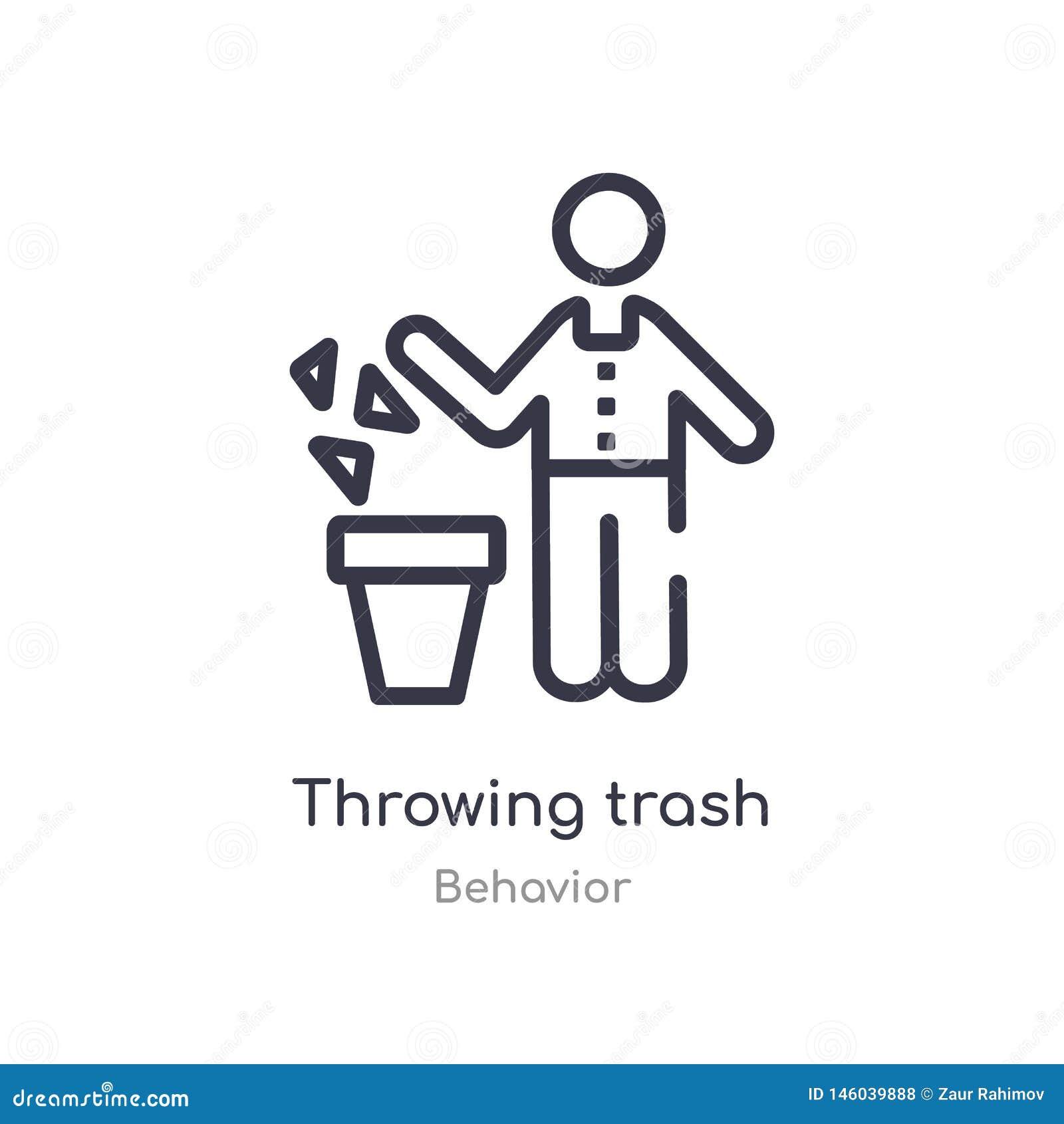 Icono del esquema de la basura que lanza l?nea aislada ejemplo del vector de la colecci?n del comportamiento icono de la basura d