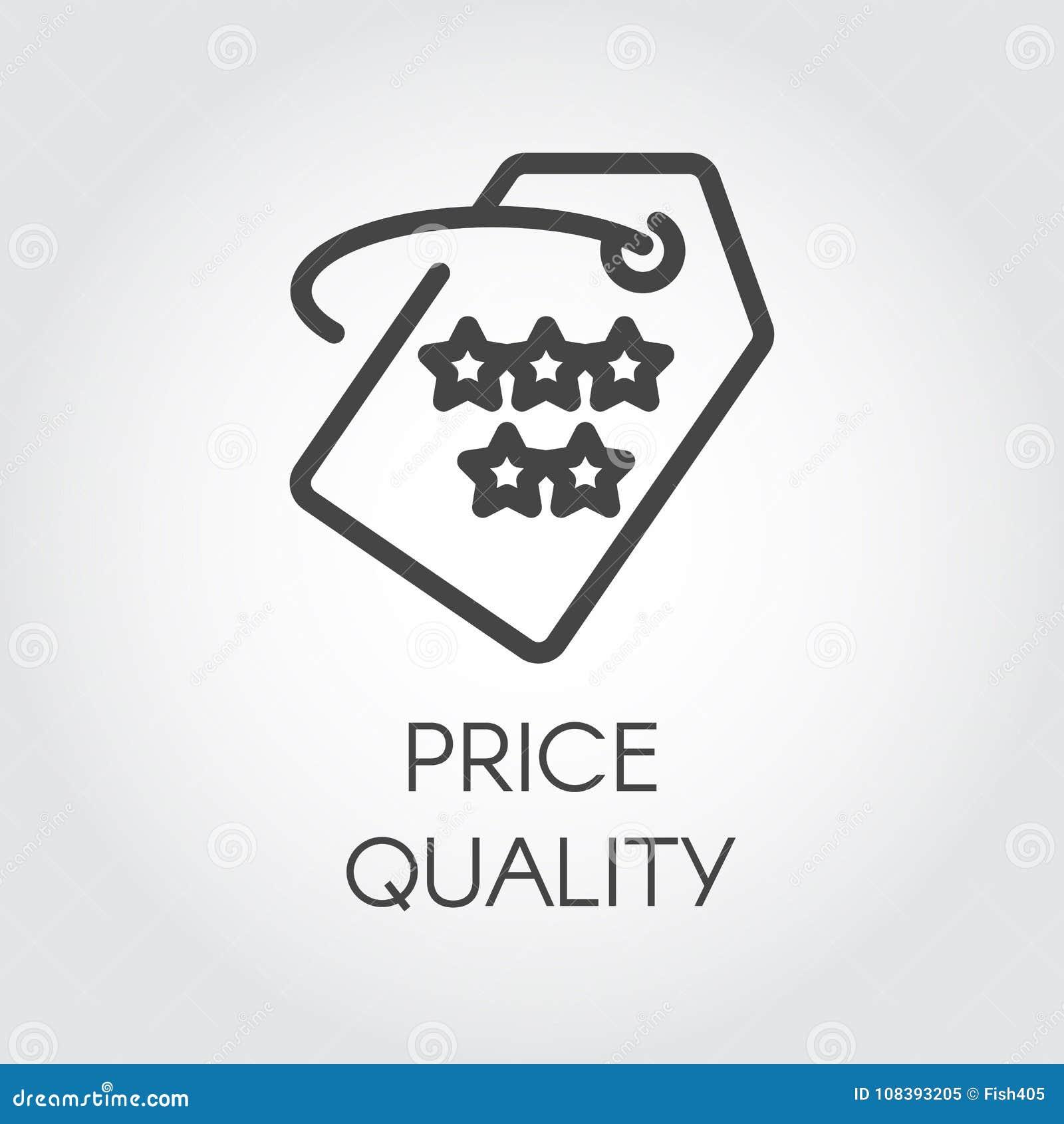 Icono del esquema de la calidad del precio Pictograma linear gráfico para las ofertas, los descuentos, las ventas, viernes negro