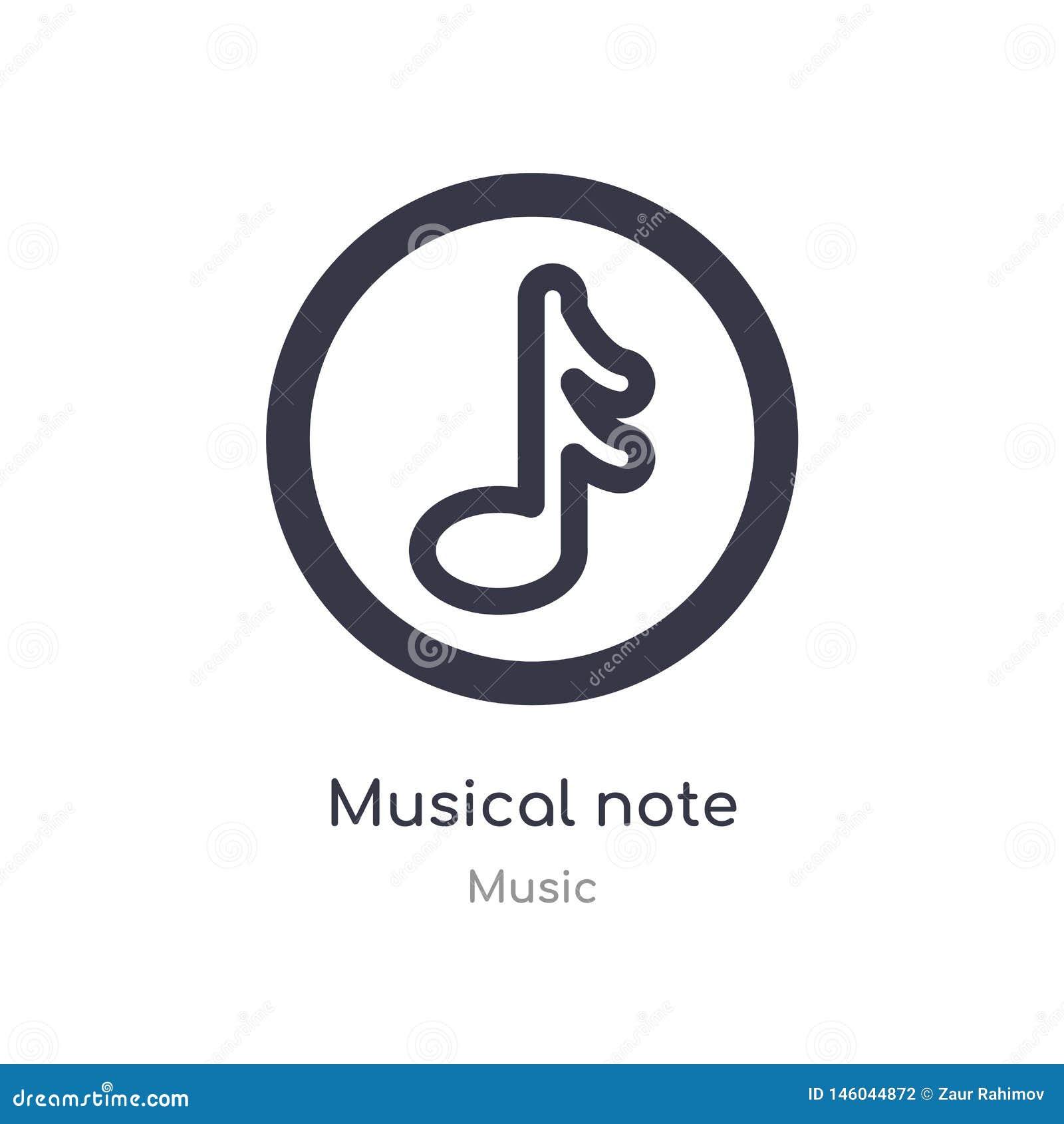 Icono del esquema de la nota musical l?nea aislada ejemplo del vector de la colecci?n de m?sica icono fino editable de la nota mu