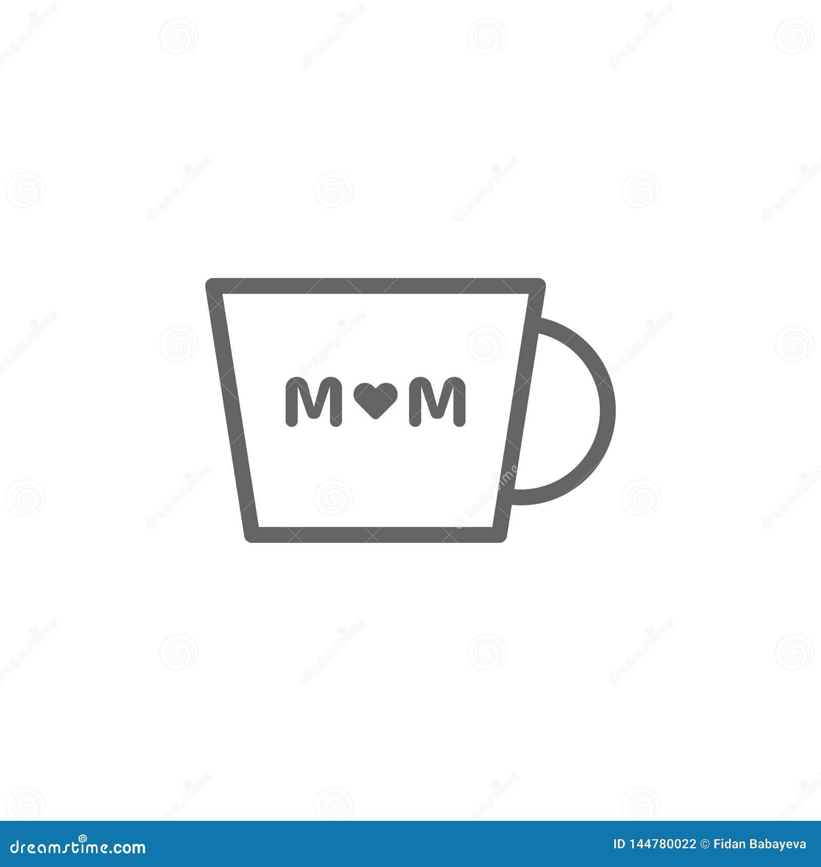 Icono del esquema de la taza de caf? del d?a de madres r Las muestras y los s?mbolos se pueden utilizar para la web, logotipo, m?
