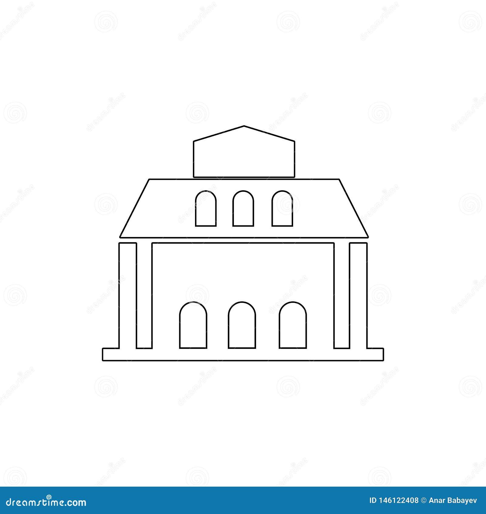 Icono del esquema del edificio de biblioteca Elementos del icono del ejemplo de los edificios Las muestras y los s?mbolos se pued