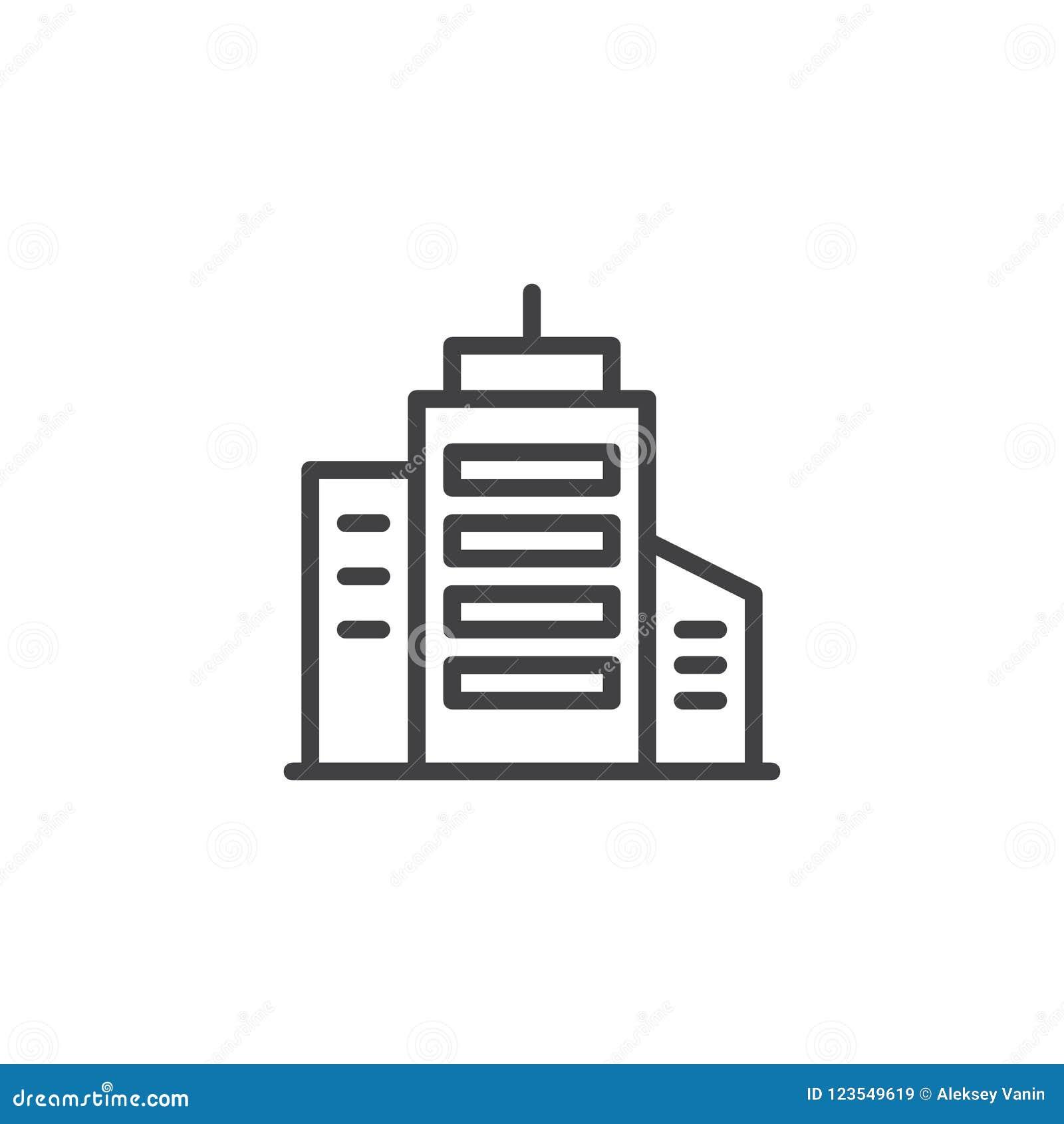 Icono Del Esquema Del Edificio Del Rascacielos Ilustración del ...